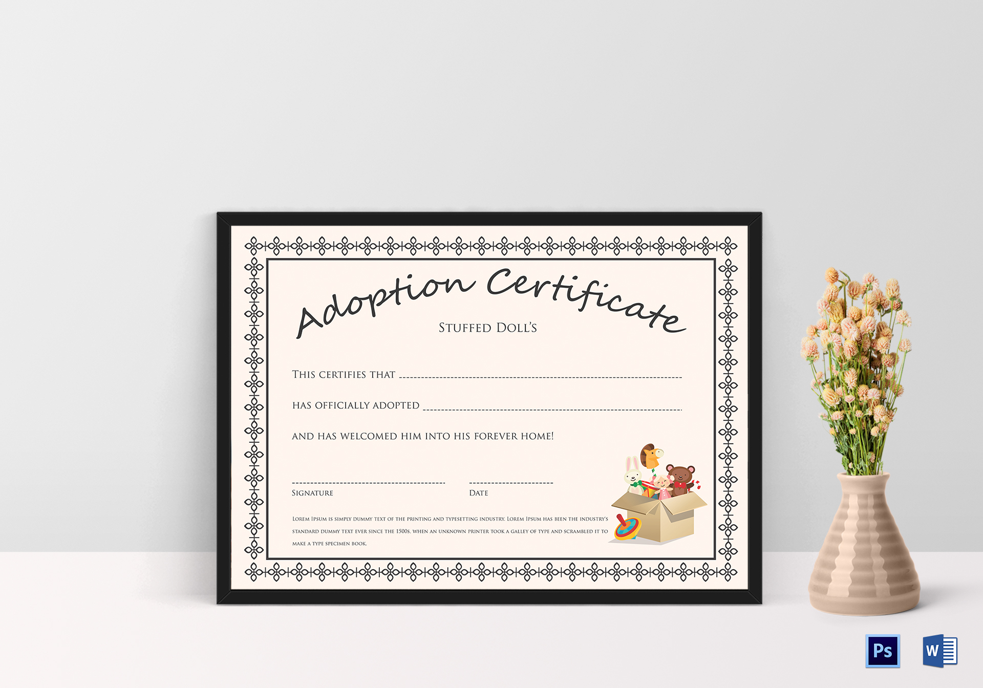 Doll Adoption Certificate Design Template In Psd Word