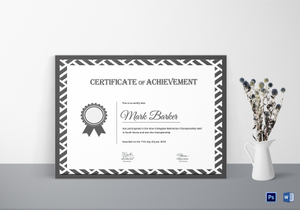 Badminton certificate designs templates in word psd badminton achievement certificate template yadclub Images