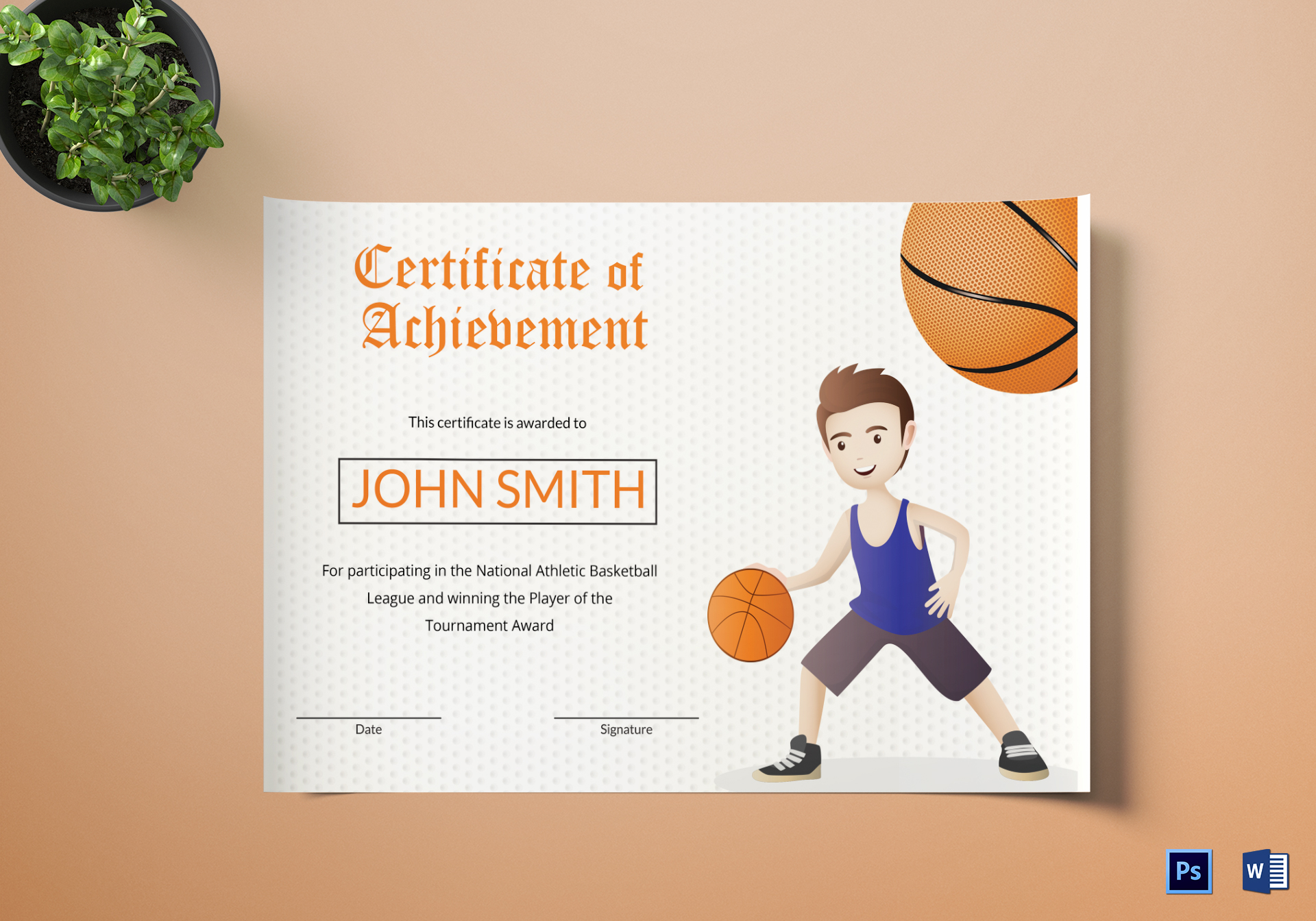 Basketball certificate design template in word psd for Basketball mvp certificate template