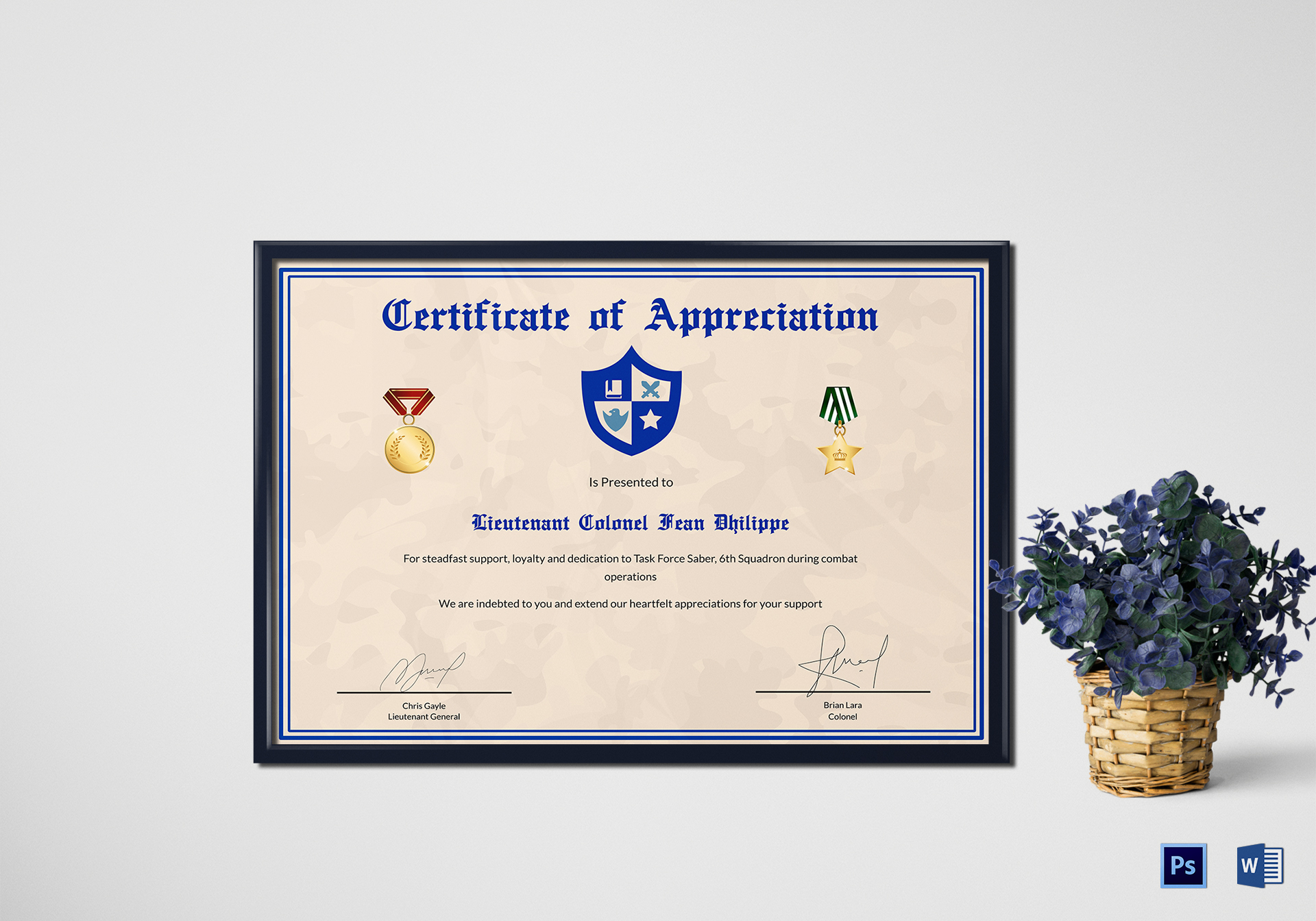 Army Certificate Of Appreciation Design Template In Psd Word