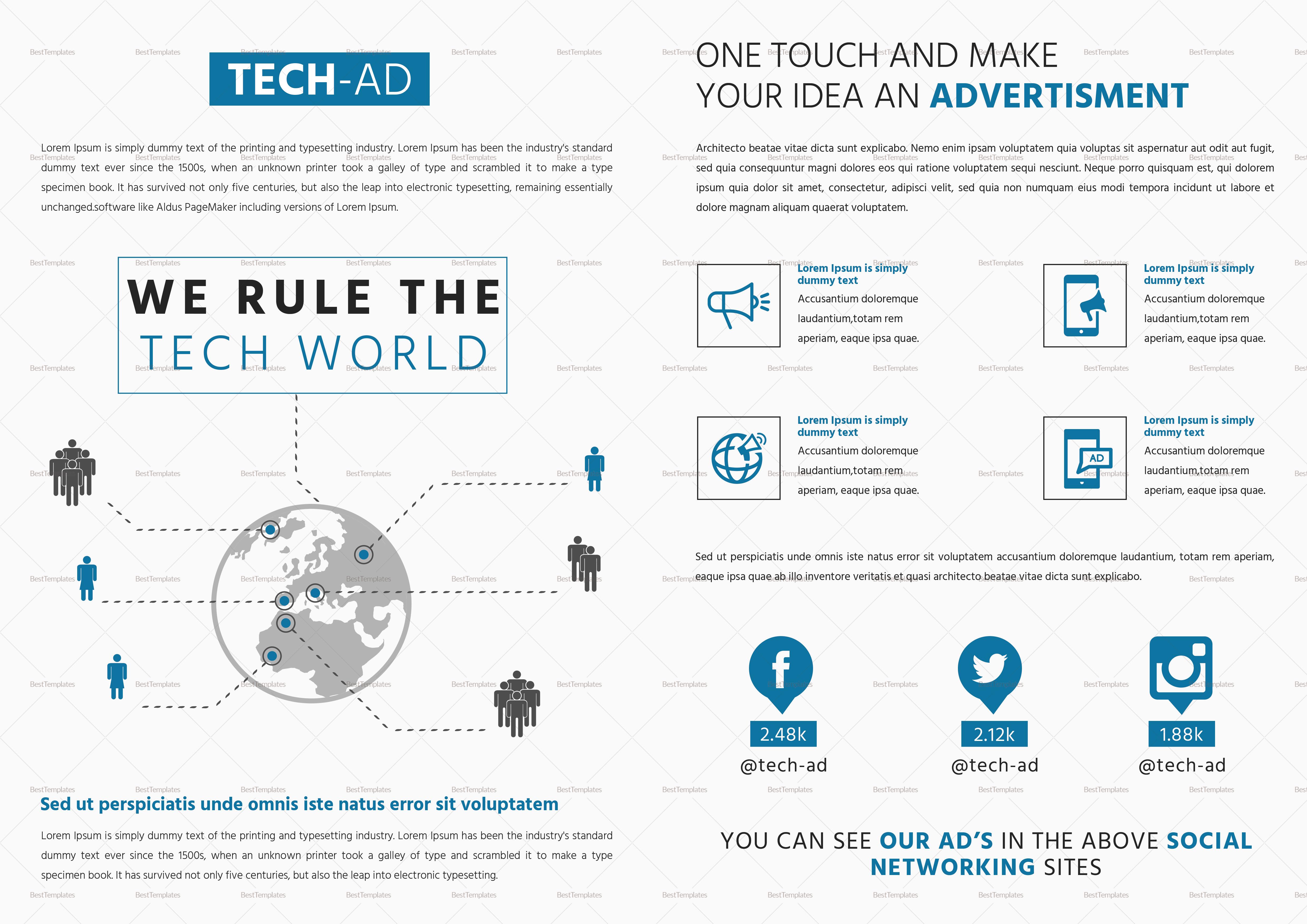 Advertising Bi Fold Brochure Template