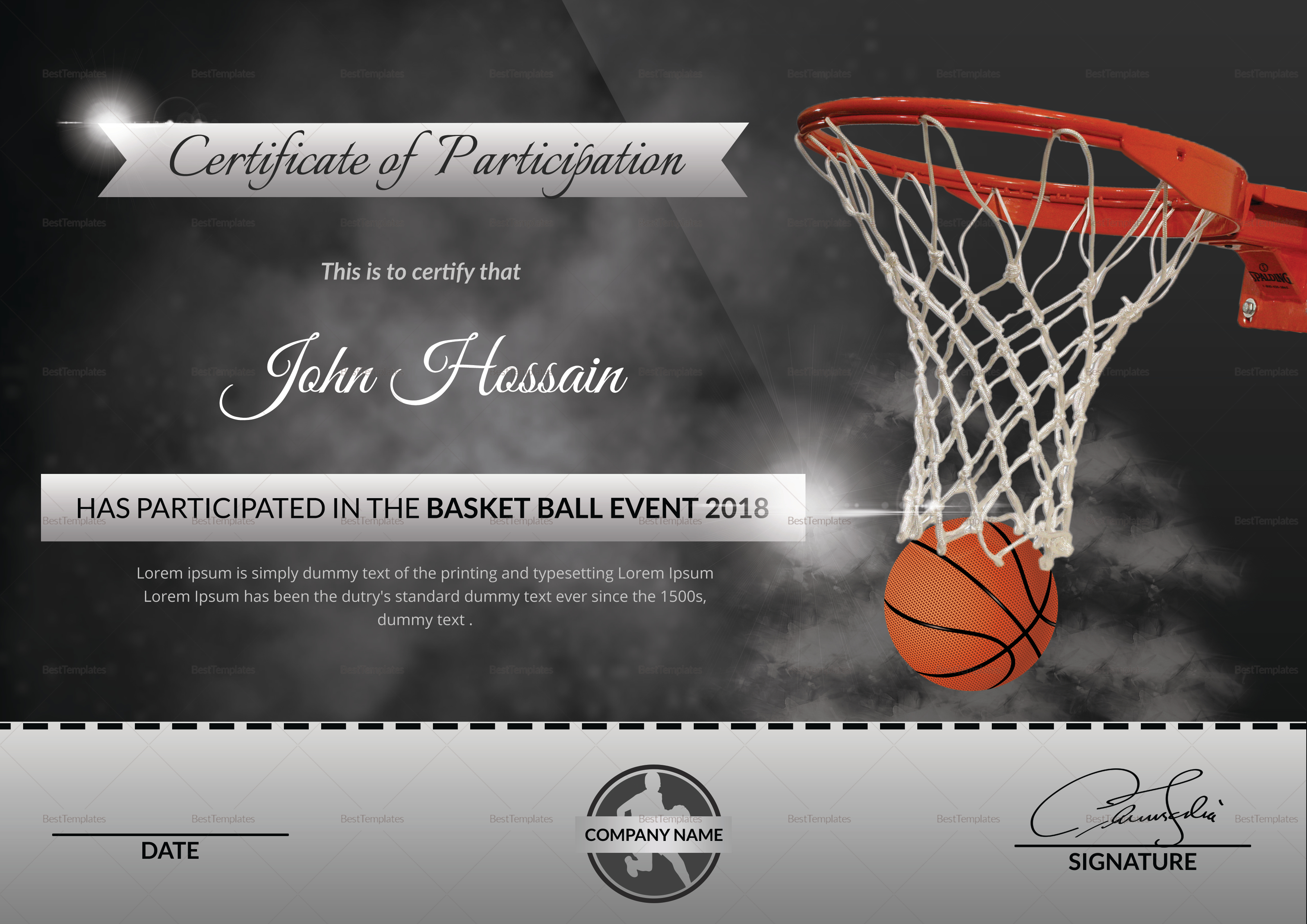 certificate template word basketball gallery certificate