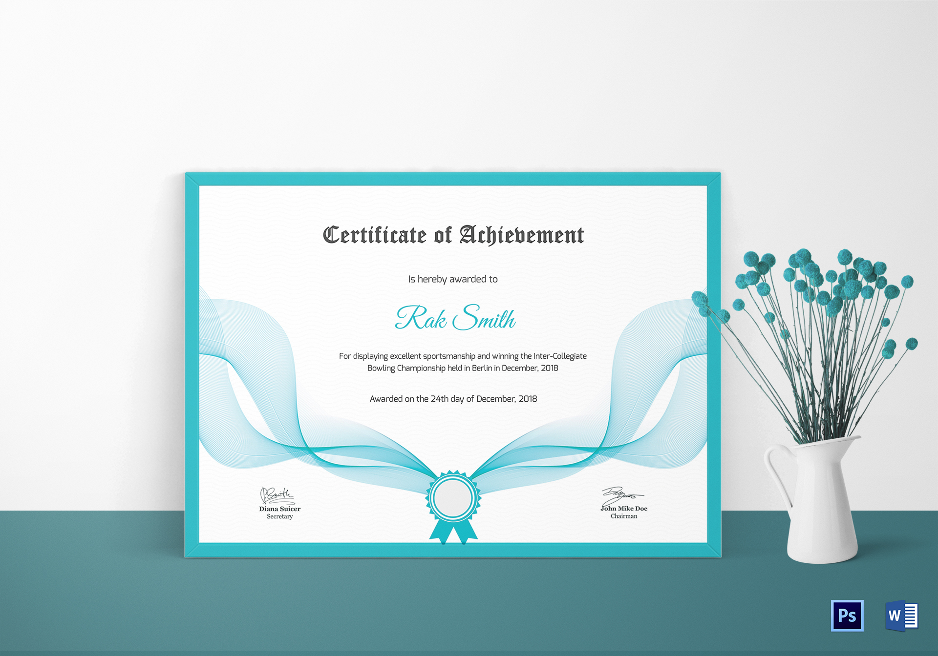 Bowling achievement certificate design template in psd word for Bowling certificates template free