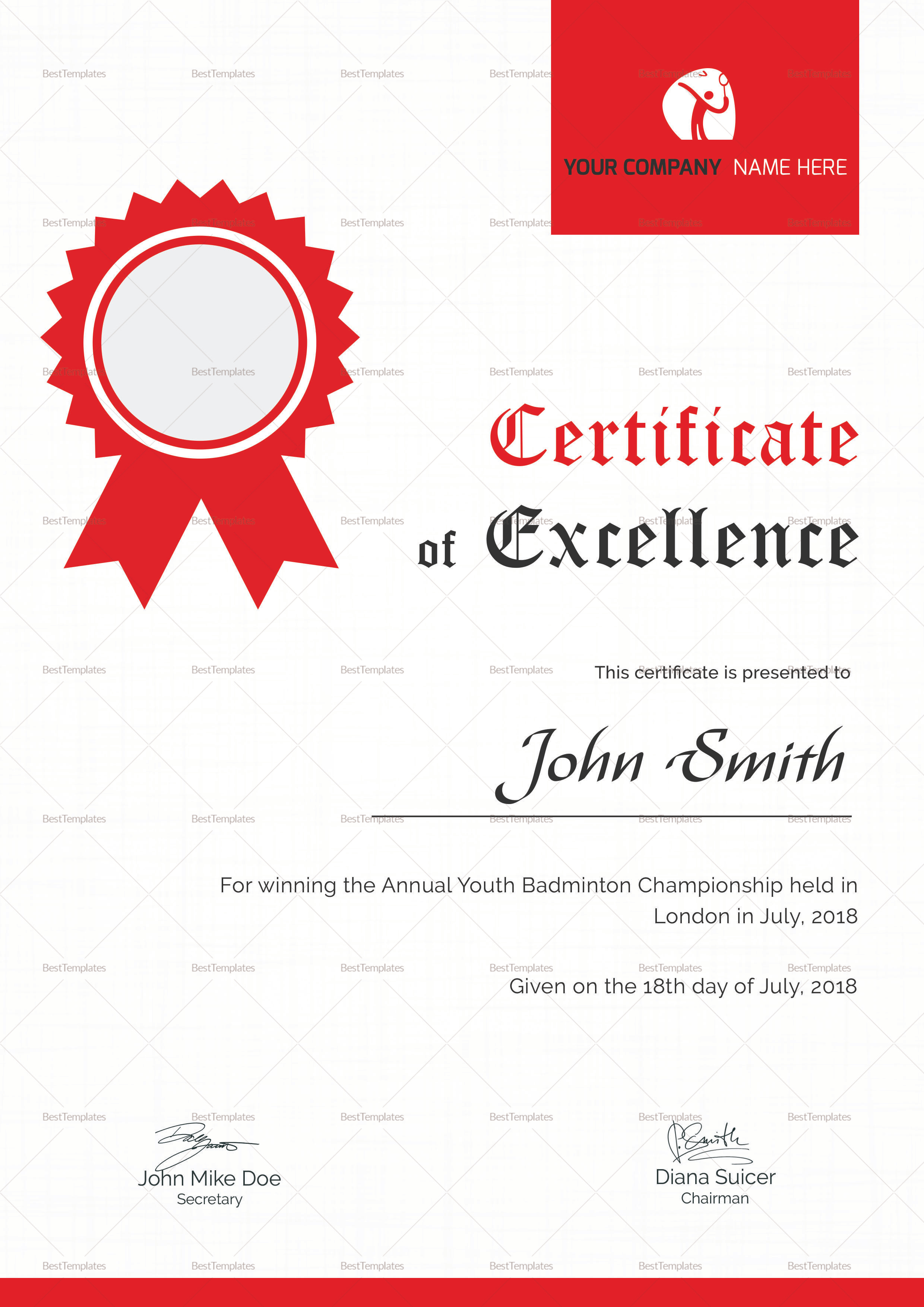 Badminton Excellence Certificate Design Template