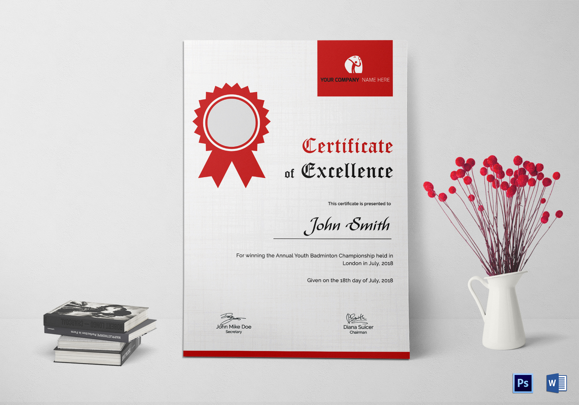 Badminton excellence certificate design template in psd word badminton excellence certificate template yadclub