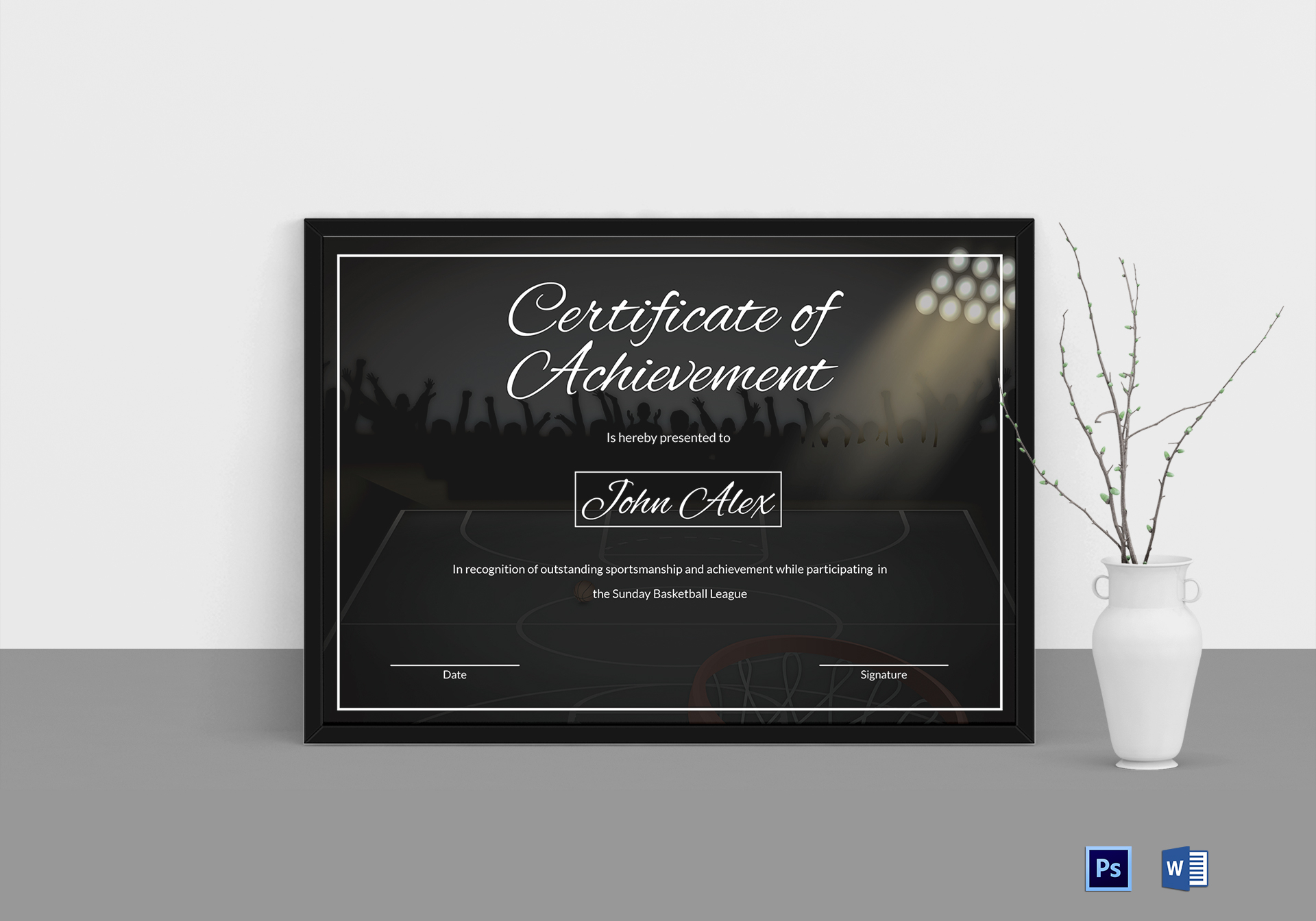 Basketball tournament certificate design template in word psd basketball tournament certificate basketball tournament certificate template yadclub Image collections