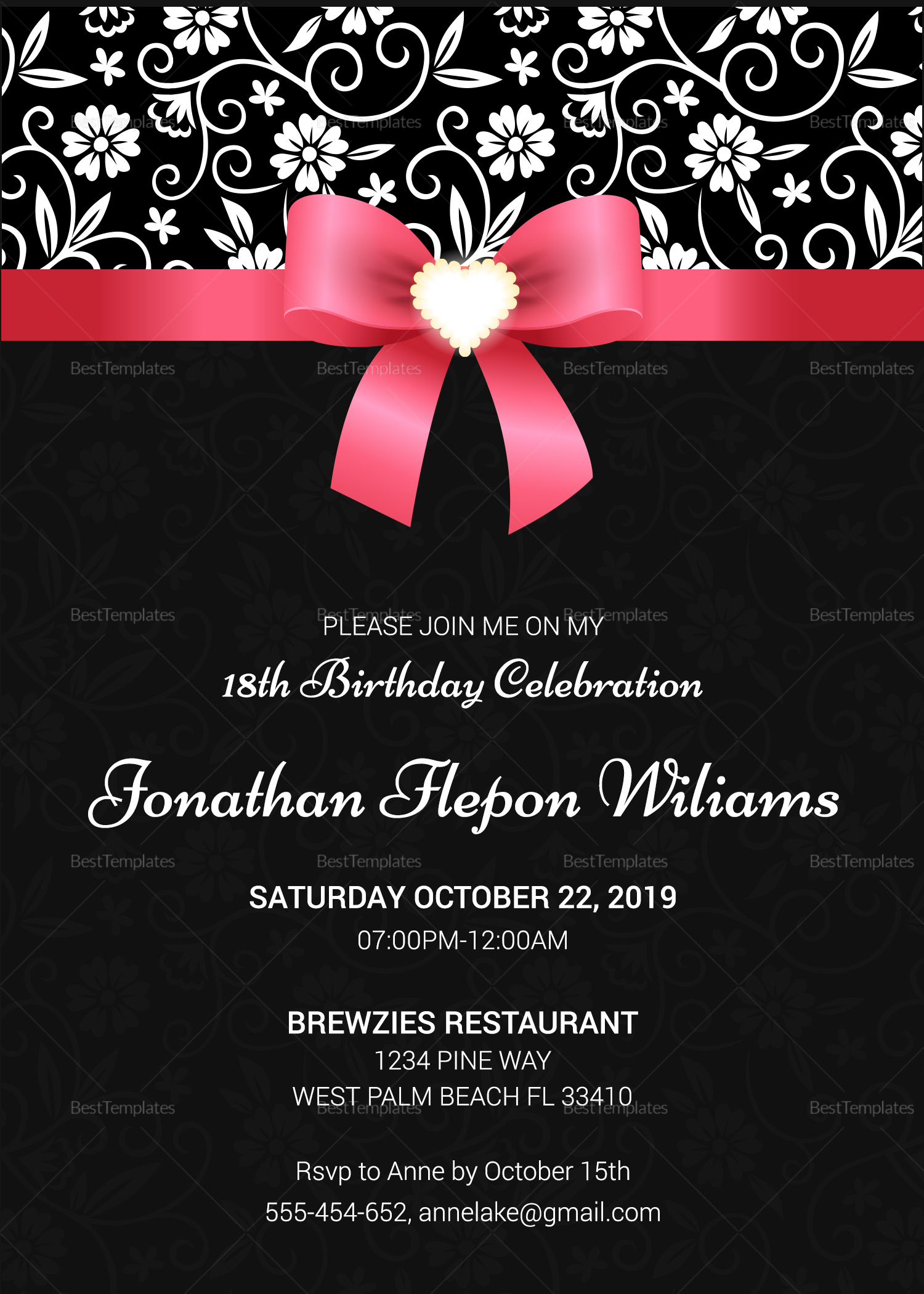 Debut Invitation Card Layout Pink And Black ...