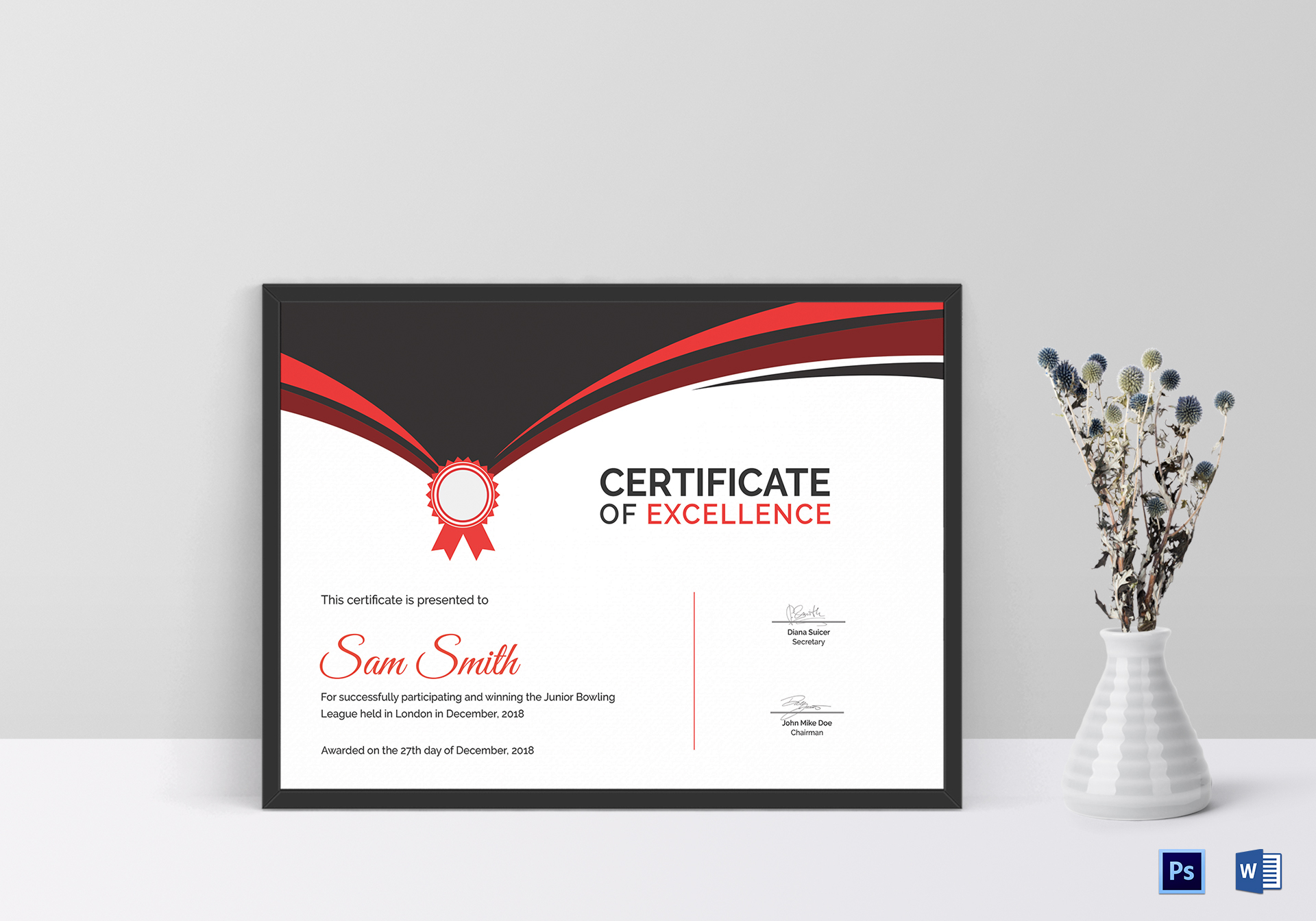 Bowling award certificate design template in psd word for Bowling certificates template free