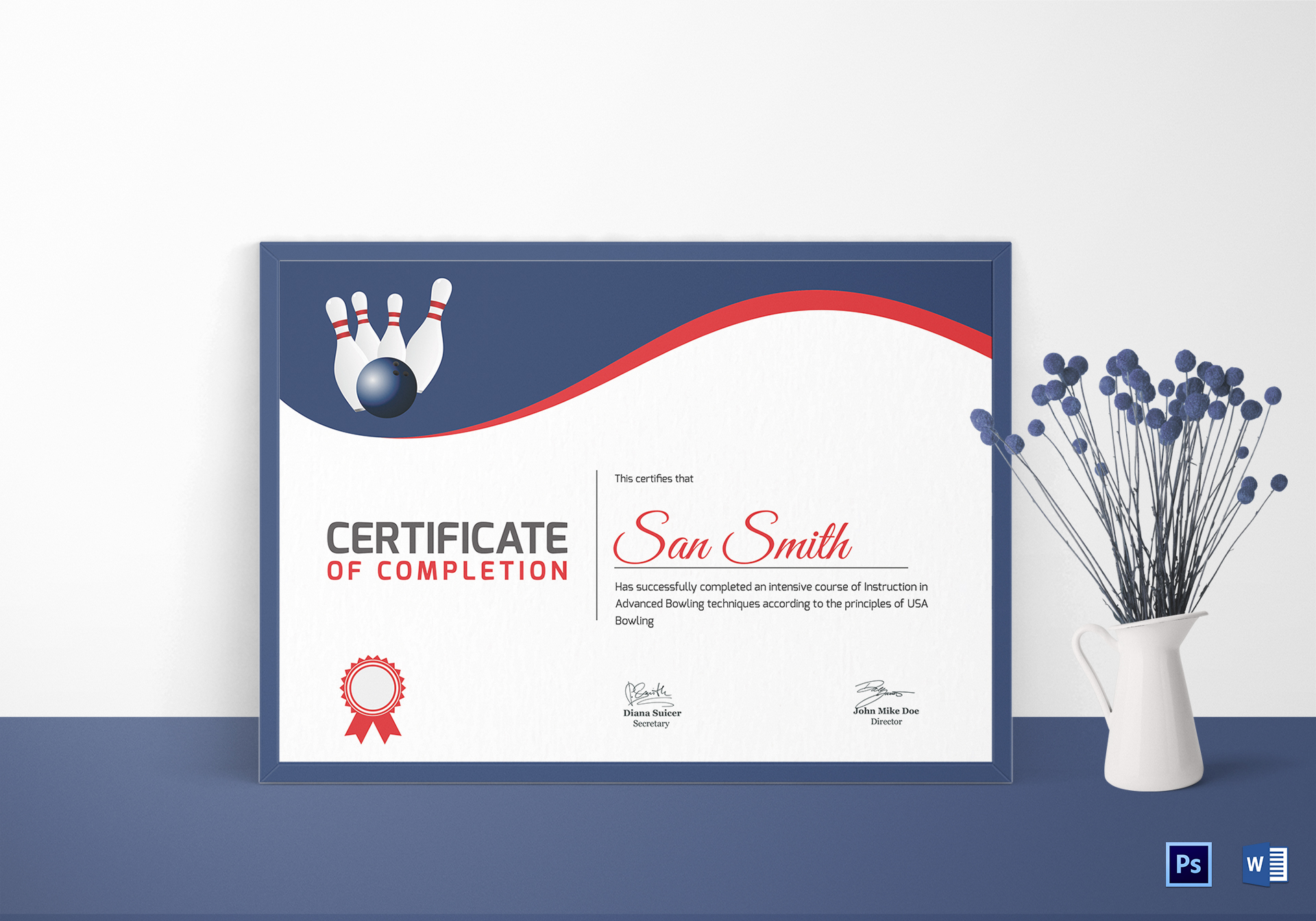 printable bowling certificate design template in word psd