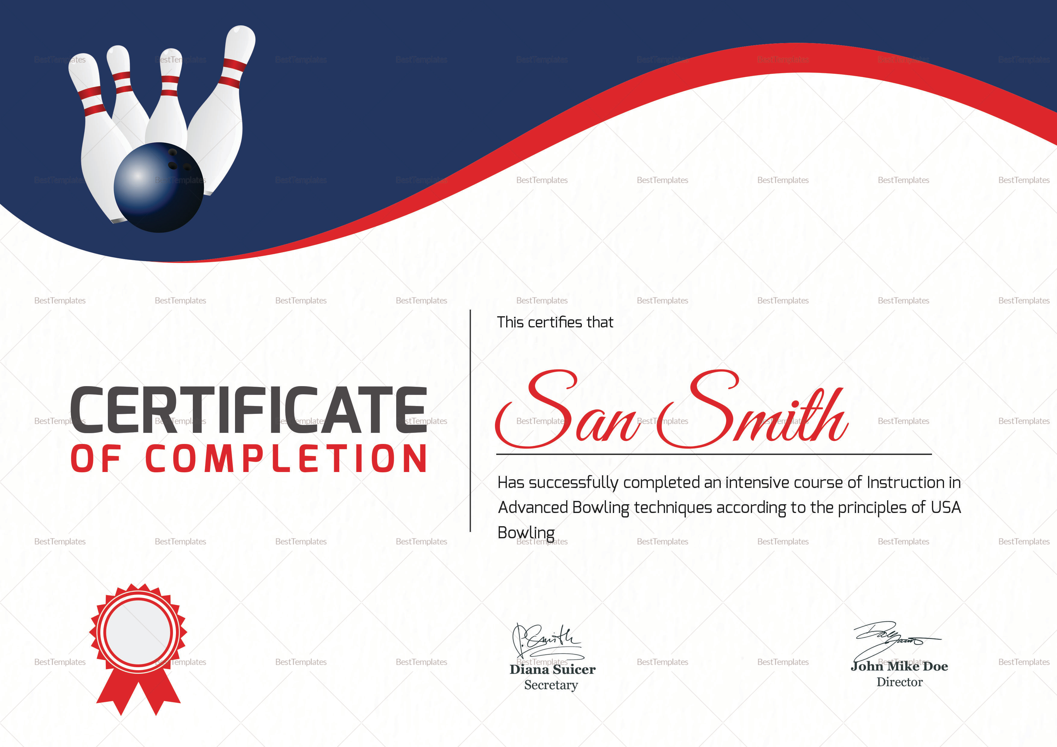 Printable bowling certificate design template in word psd for Bowling certificates template free