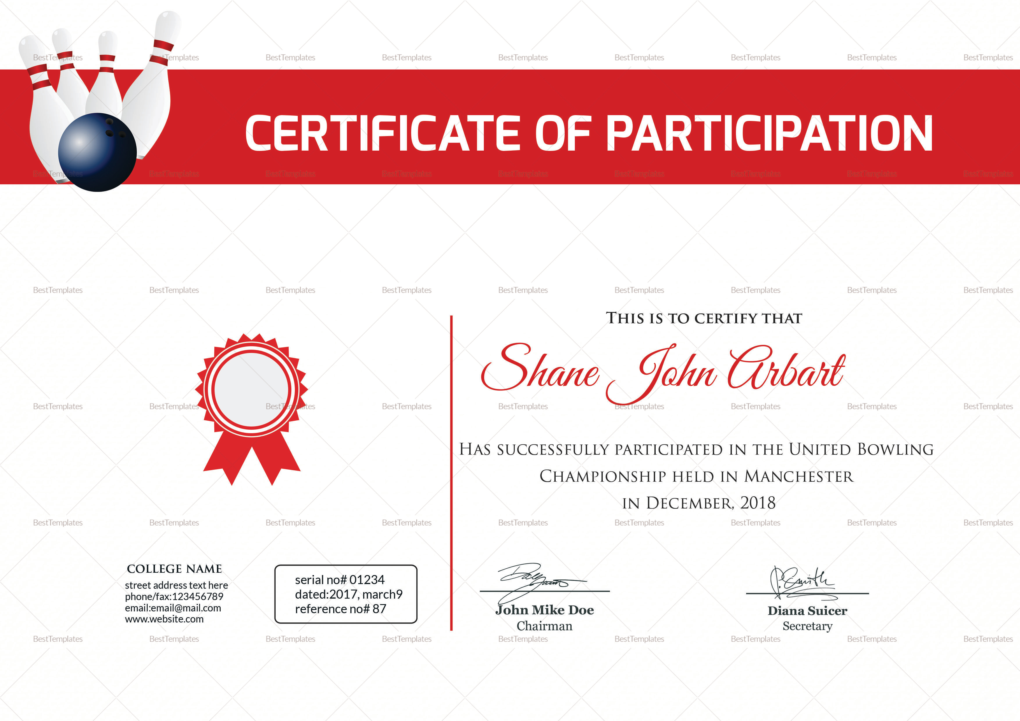 Bowling certificate design template in psd word for Bowling certificates template free