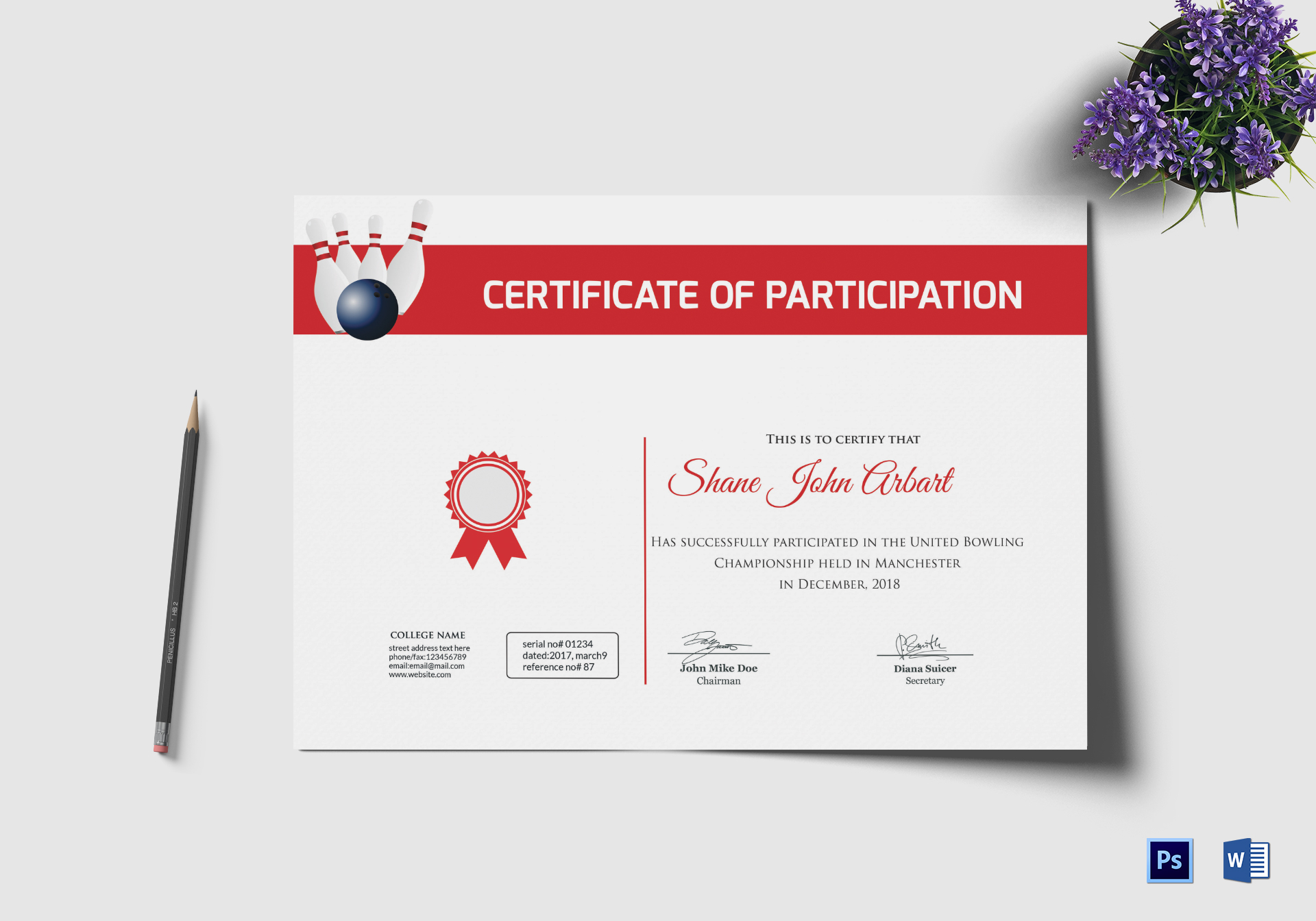 Bowling Certificate Design Template In Psd Word