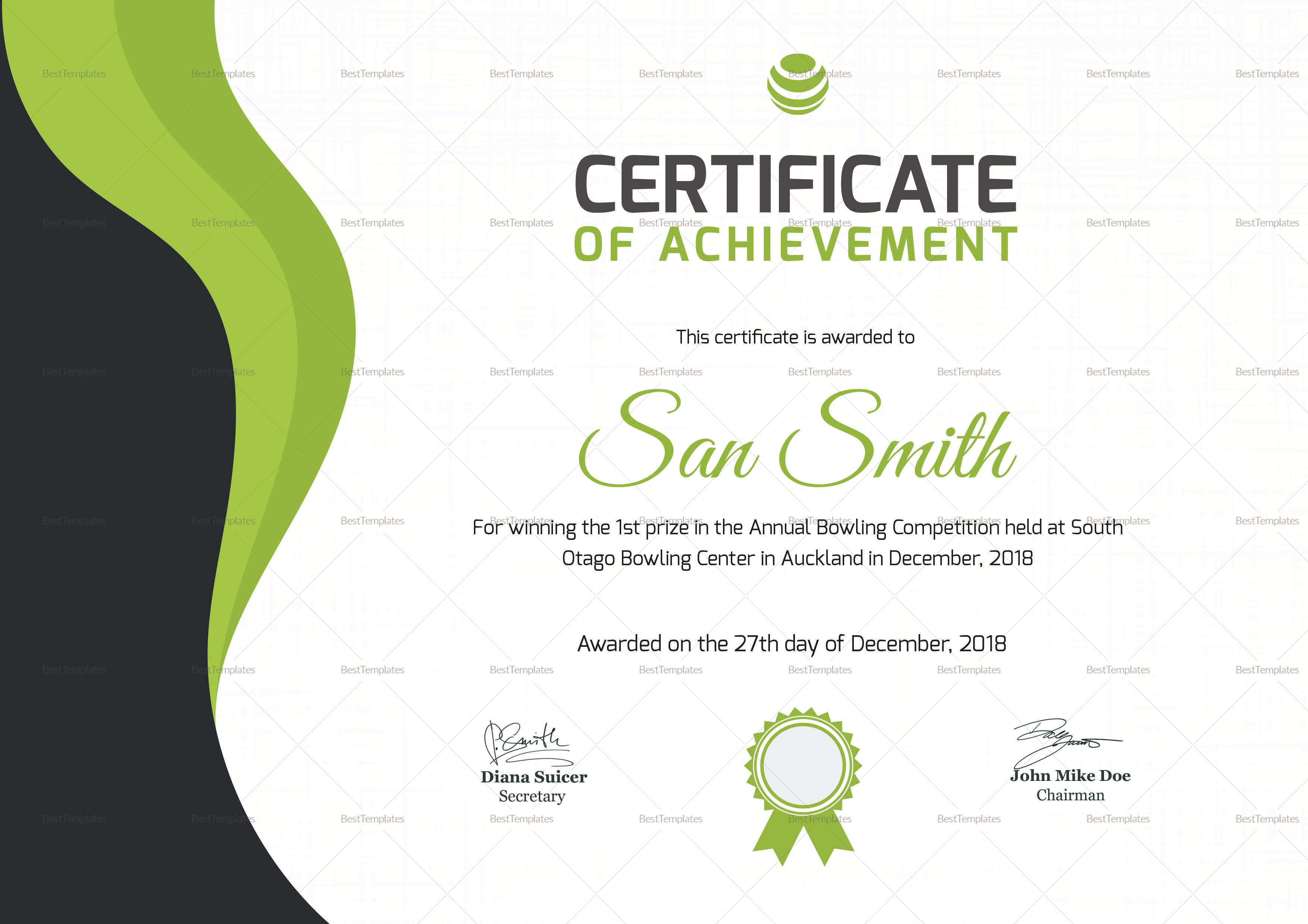 Simple bowling award certificate design template in psd word for Bowling certificates template free