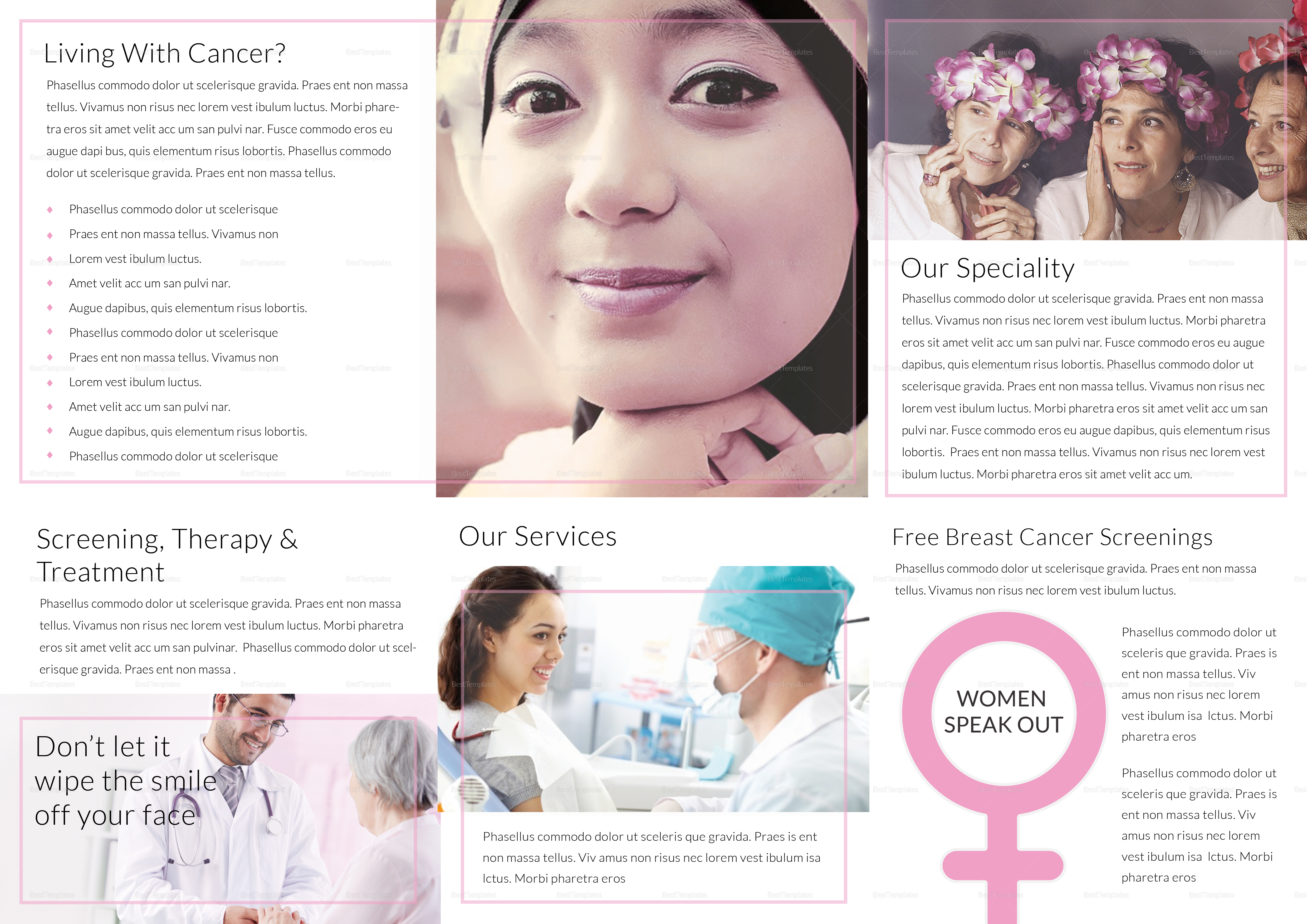 Breast Cancer Tri Fold Brochure Template