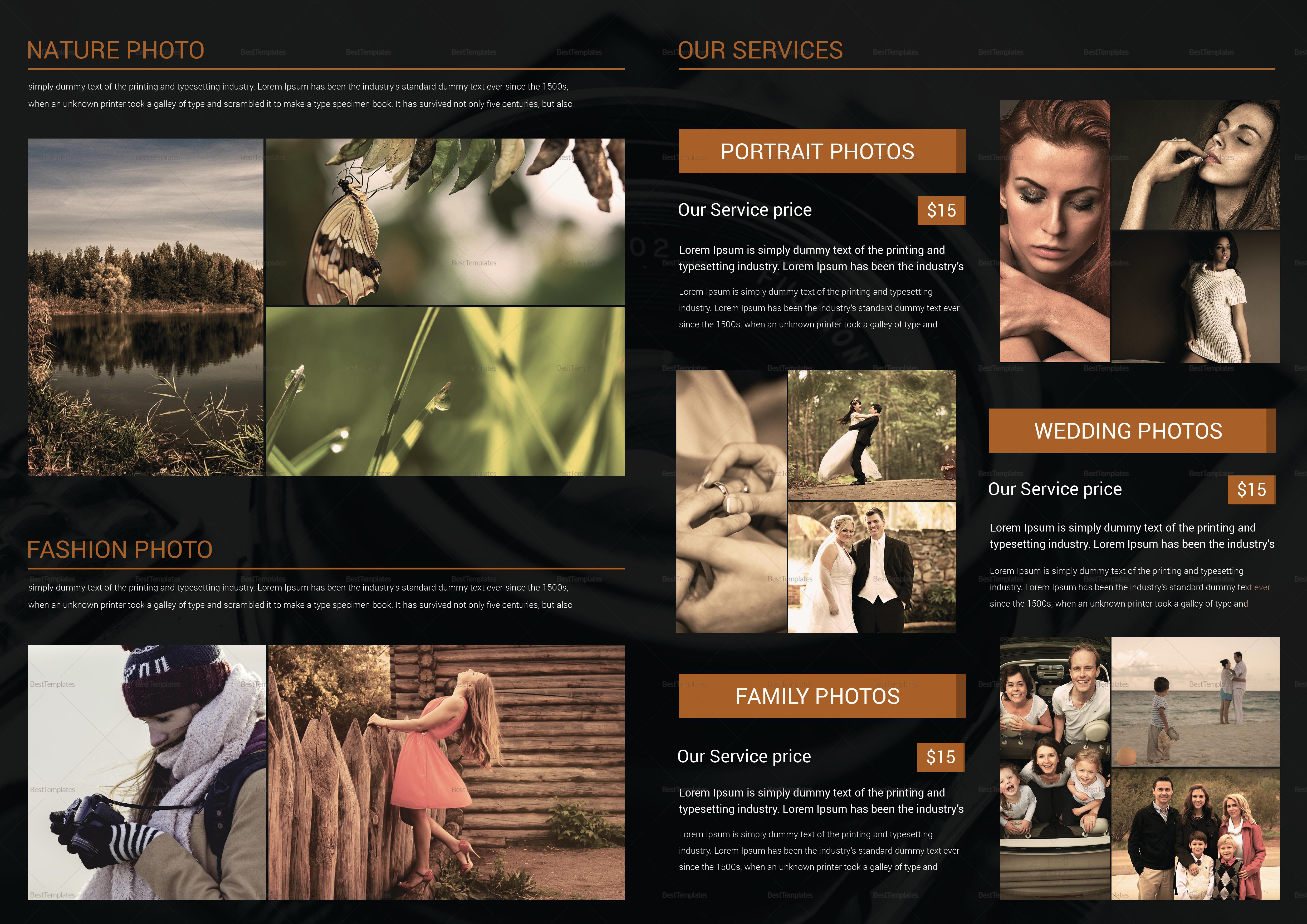 Photography Brochure Bi Fold Design Template