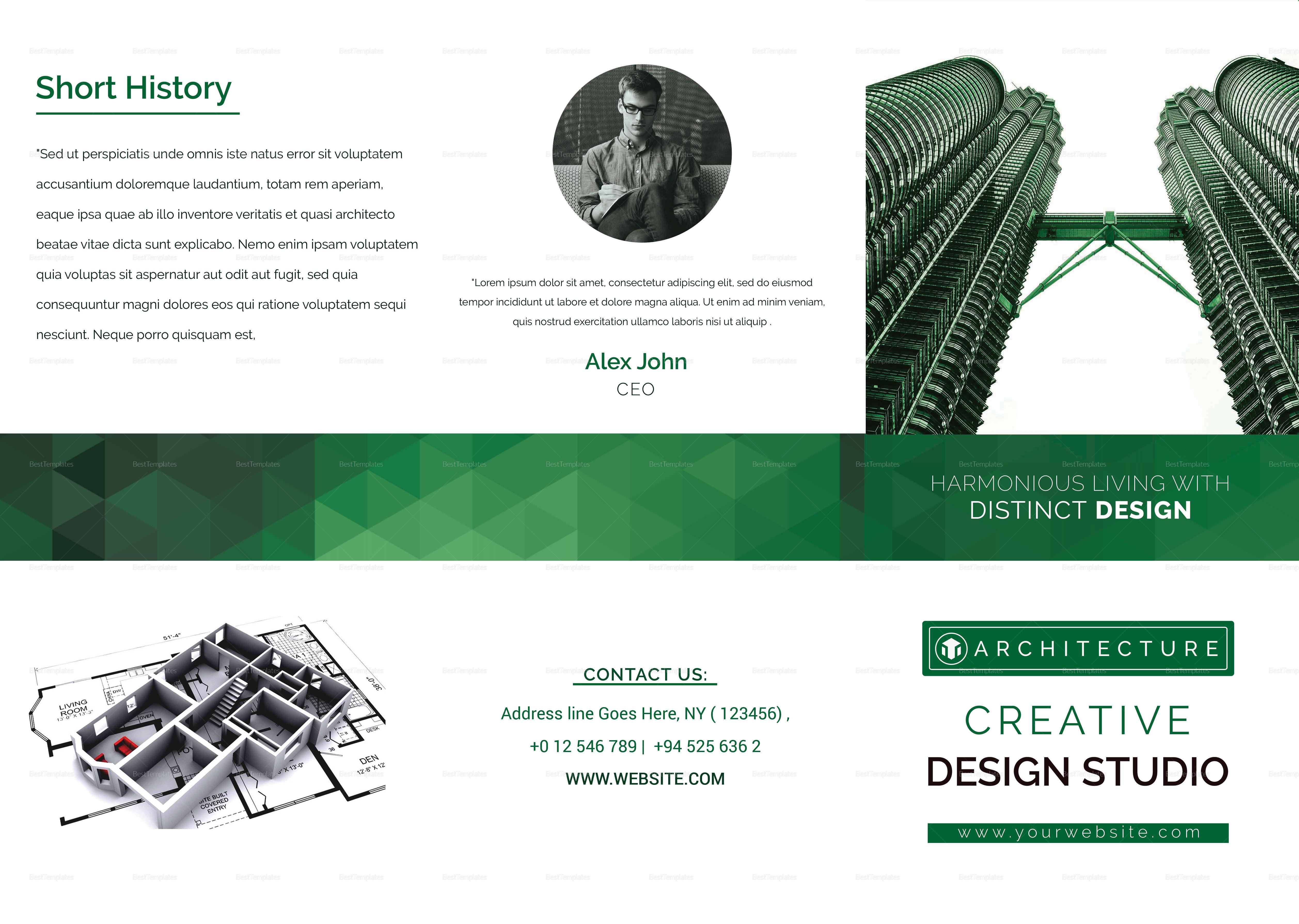 Architecture & Interior Designer Tri Fold Brochure Template