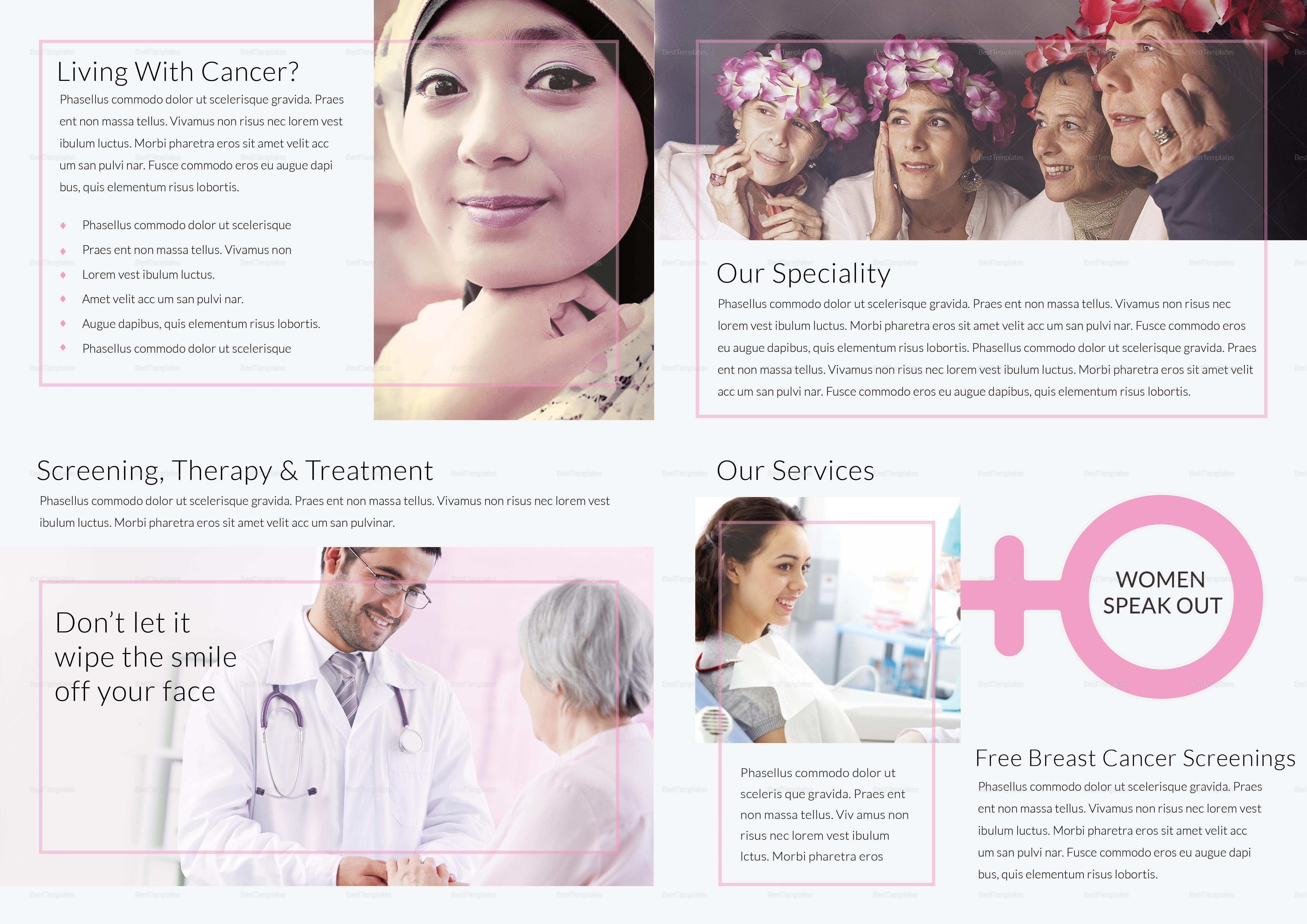 Breast cancer bi fold brochure design template in word for Breast cancer brochure template