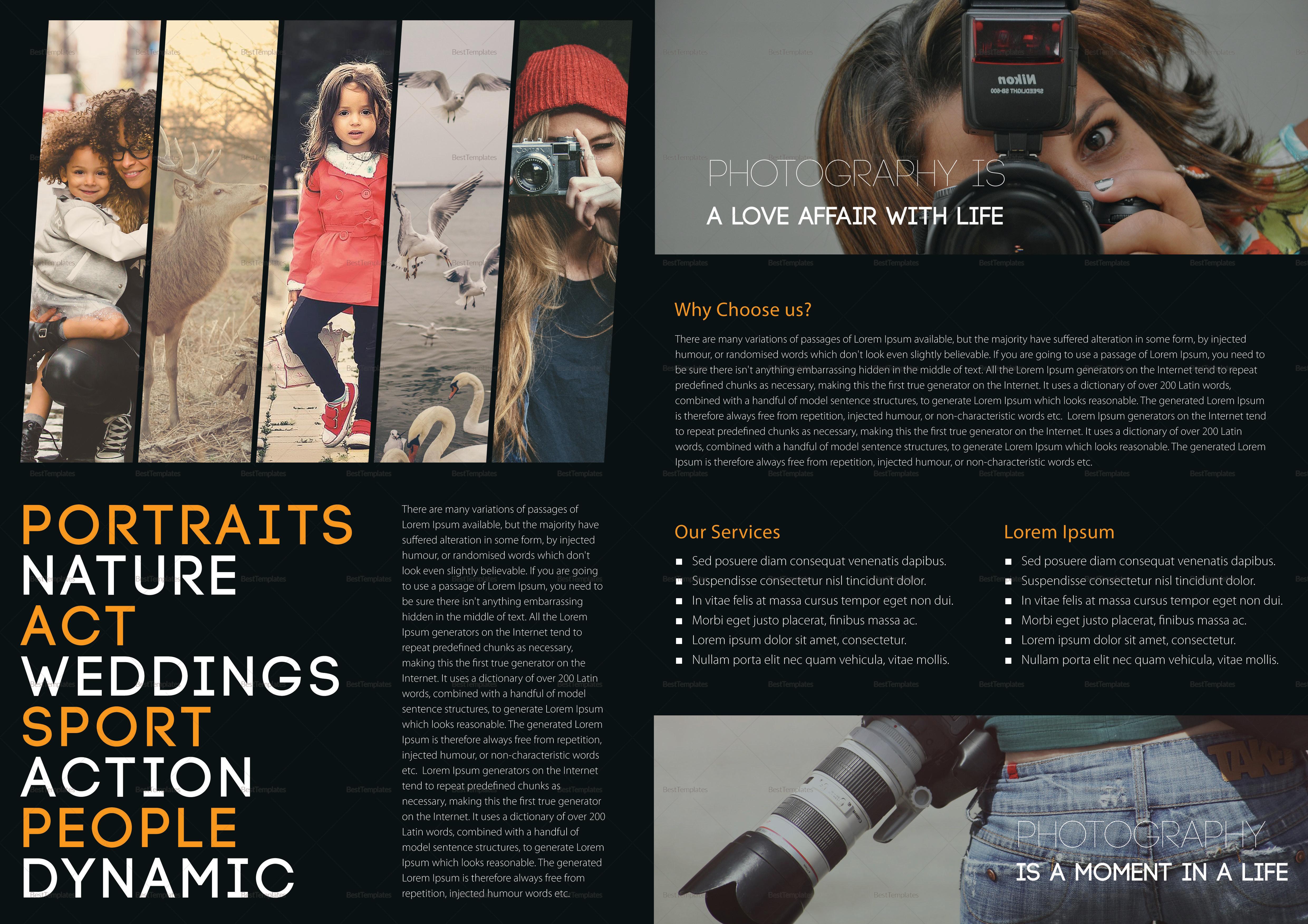Photography A4 Bifold Brochure Design Template