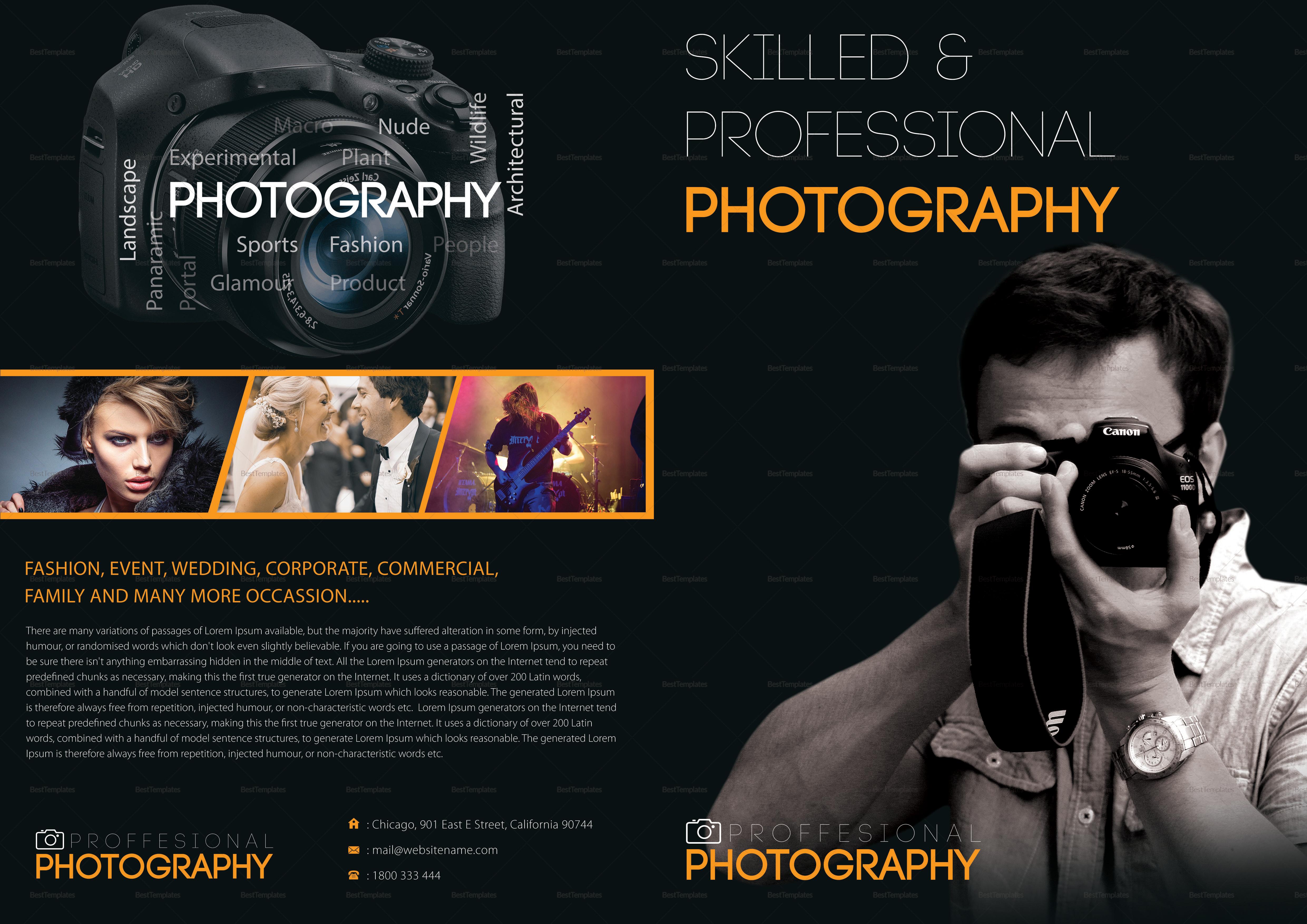 Photography A4 Bifold Brochure Template