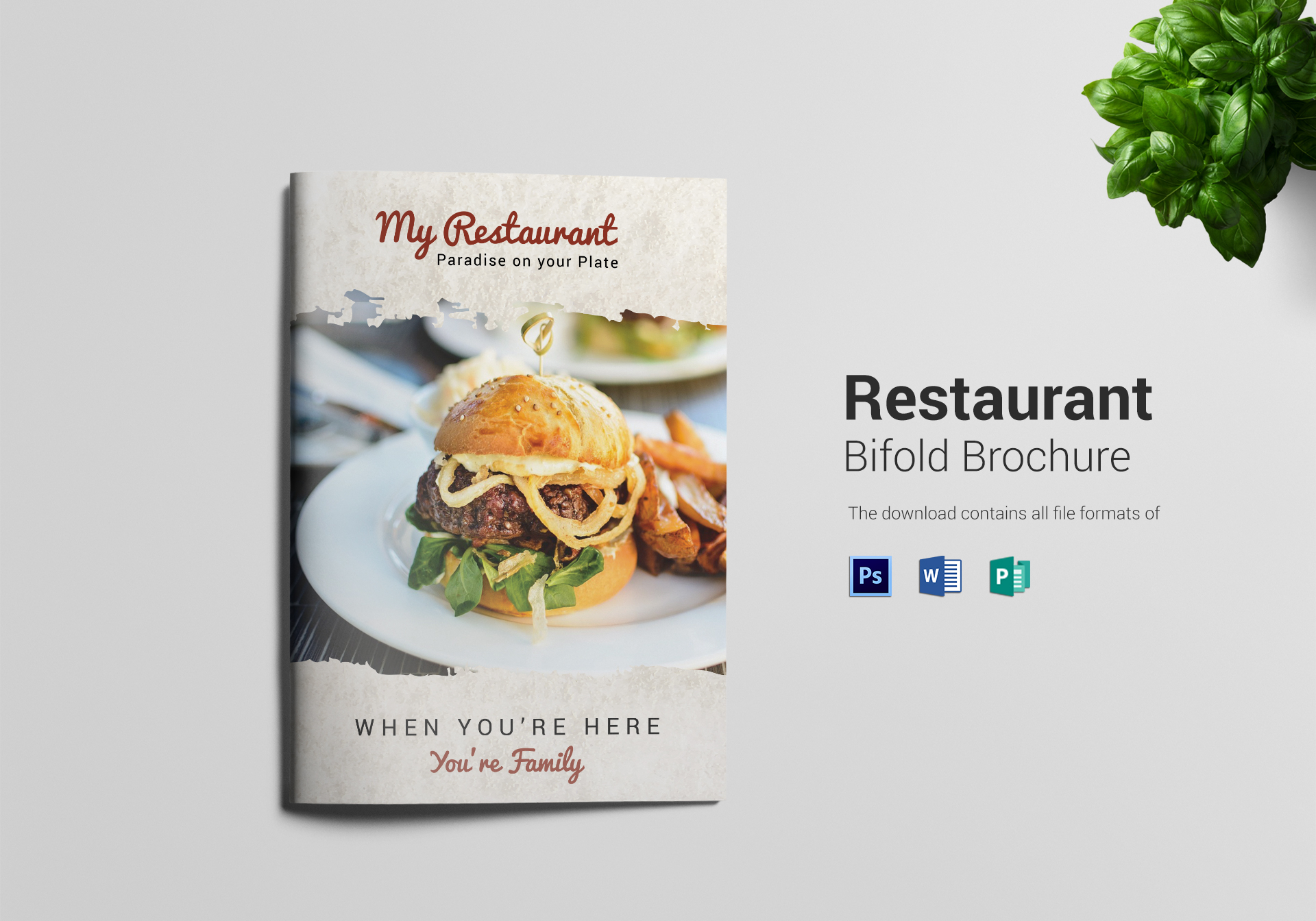 Restaurant Bi Fold Brochure Design Template In PSD Publisher Word - Bi fold brochure template publisher