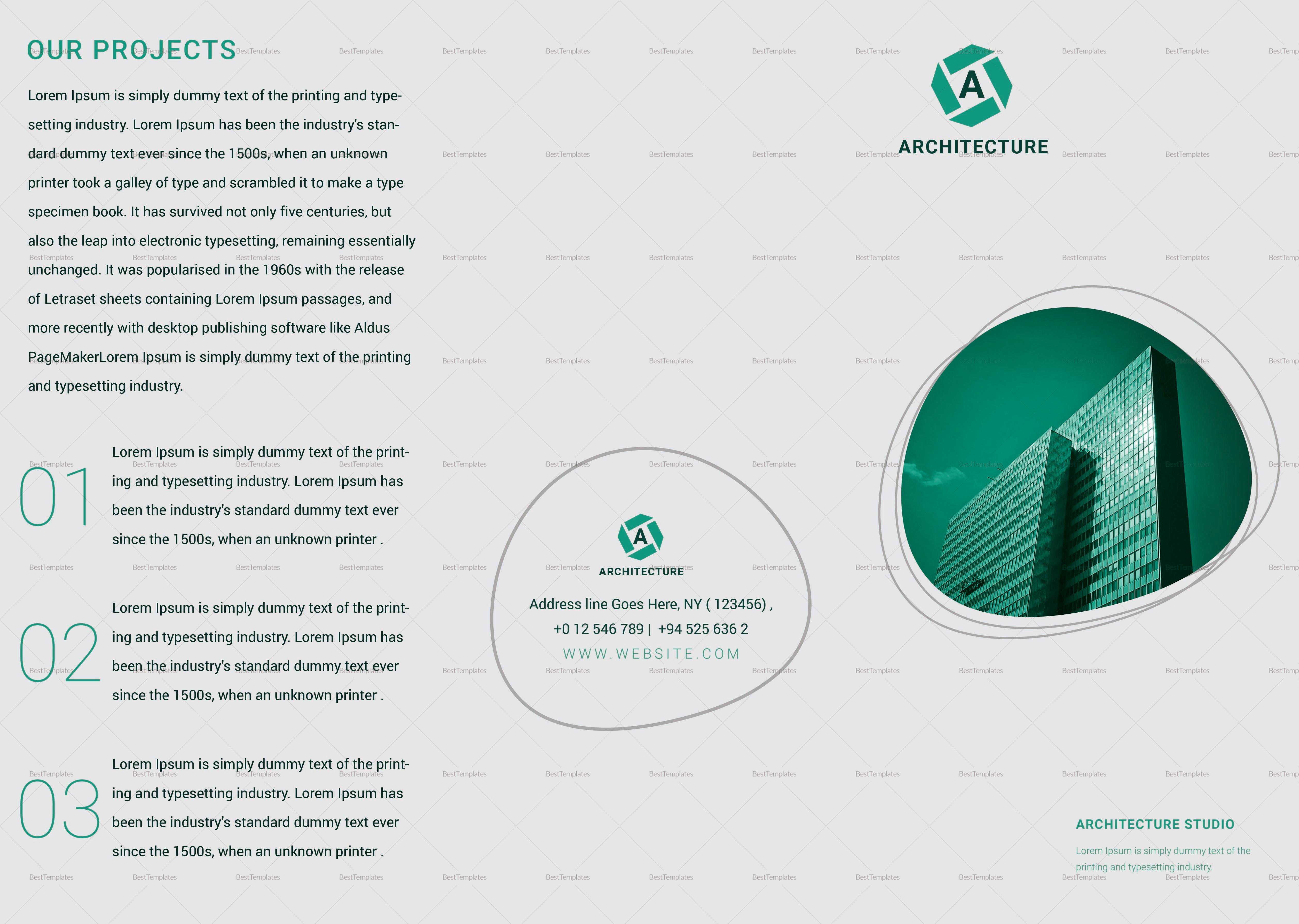 Commercial Architecture Tri Fold Brochure Template