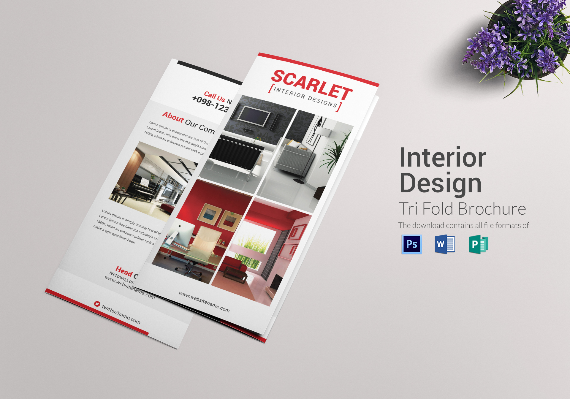 trifold interior design brochure template in psd word publisher