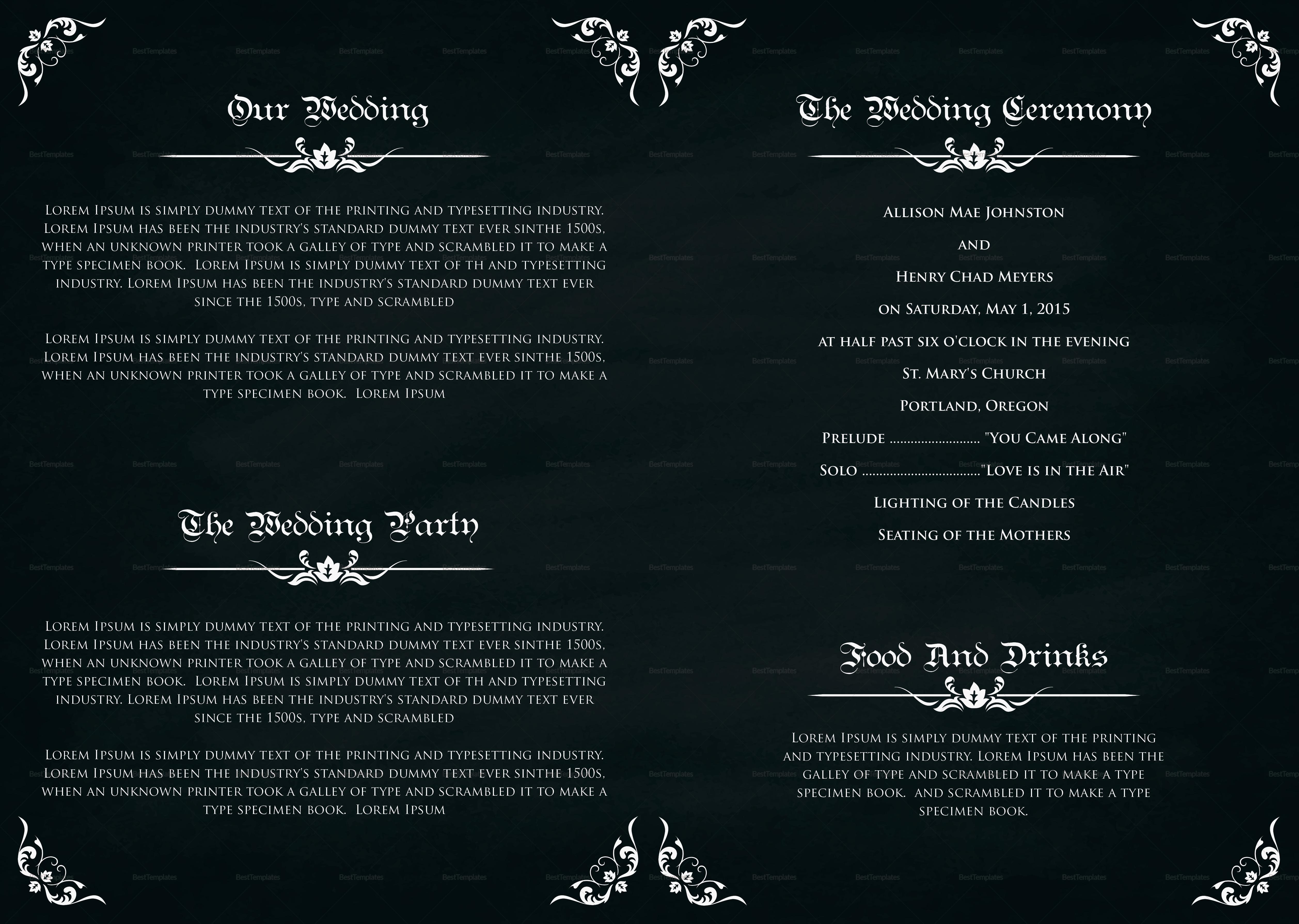 Wedding Bi Fold Brochure Design Template