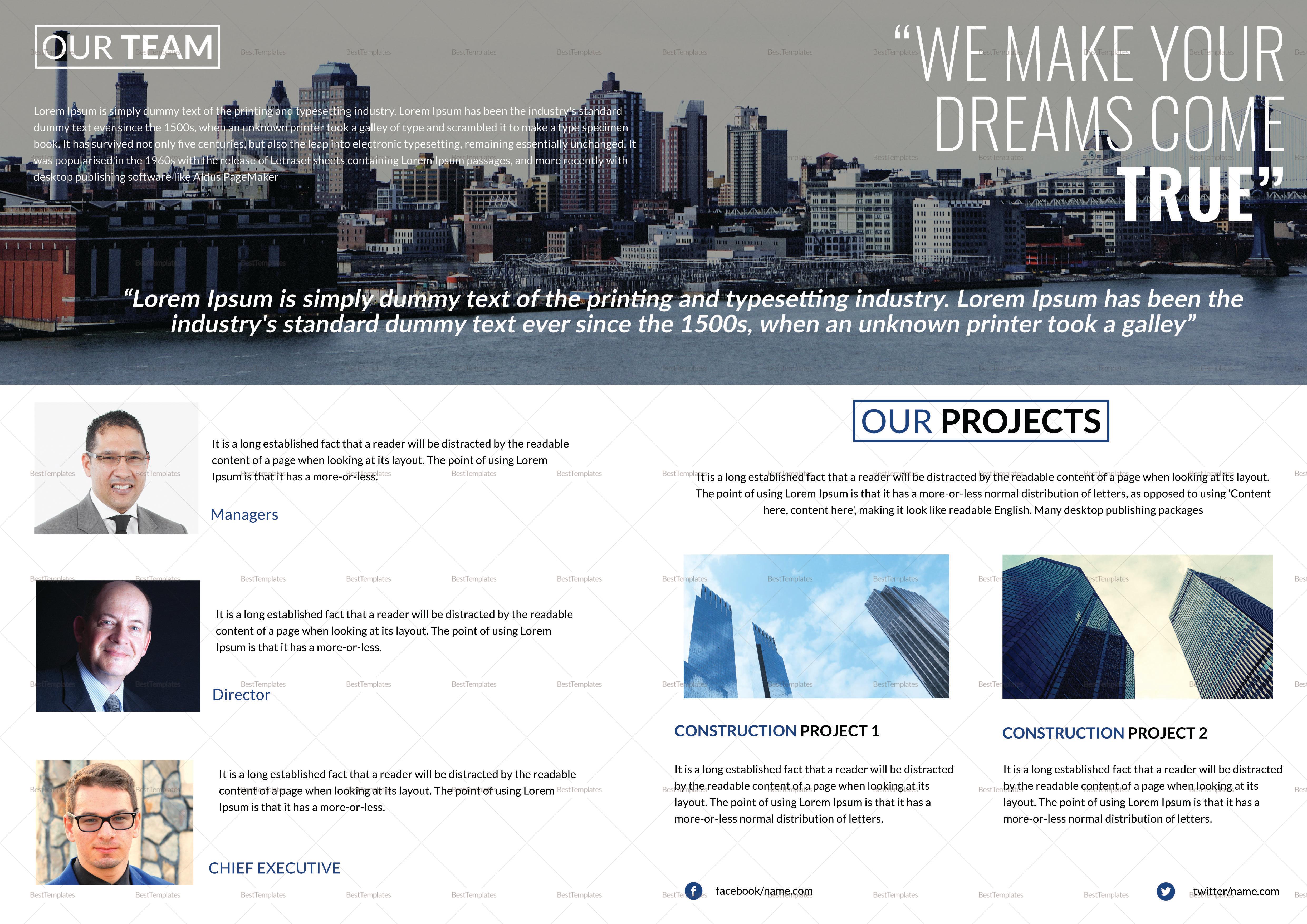 Construction Company Bi Fold Brochure Template 2