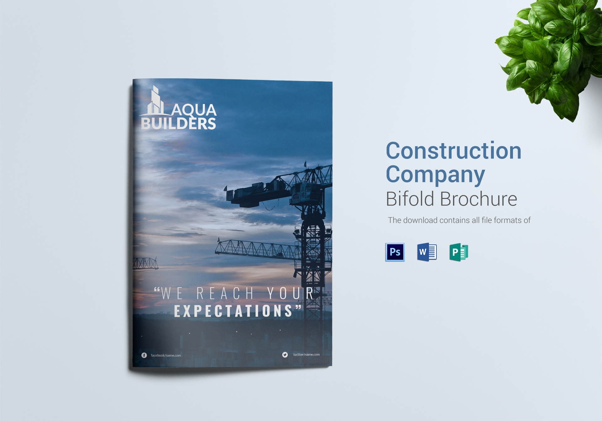 construction company bi fold brochure design template in word psd