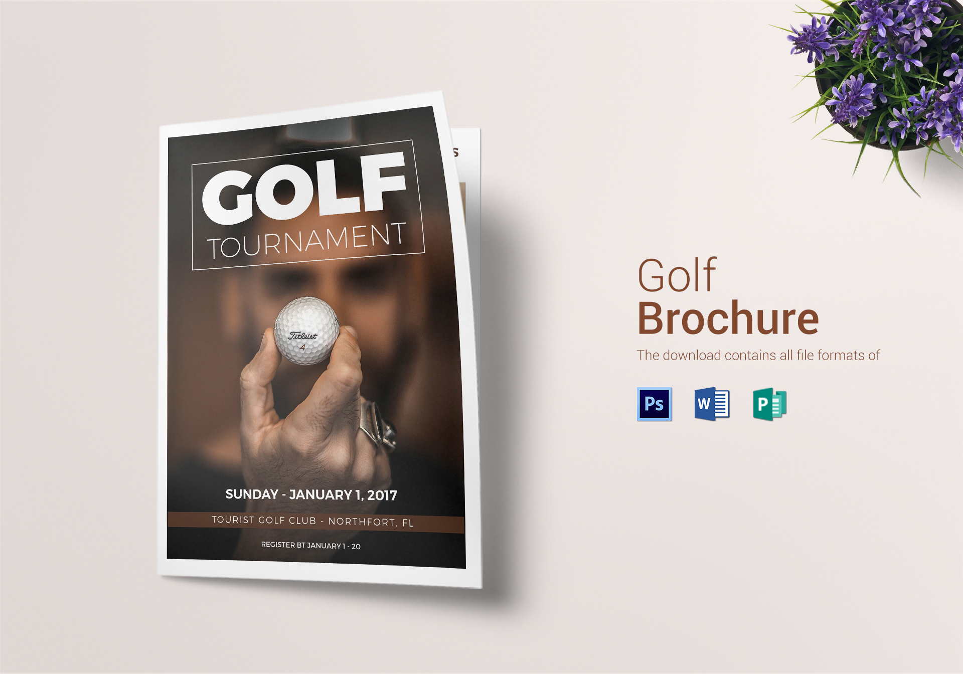 Golf Bi Fold Brochure Design Template In Word Psd Publisher