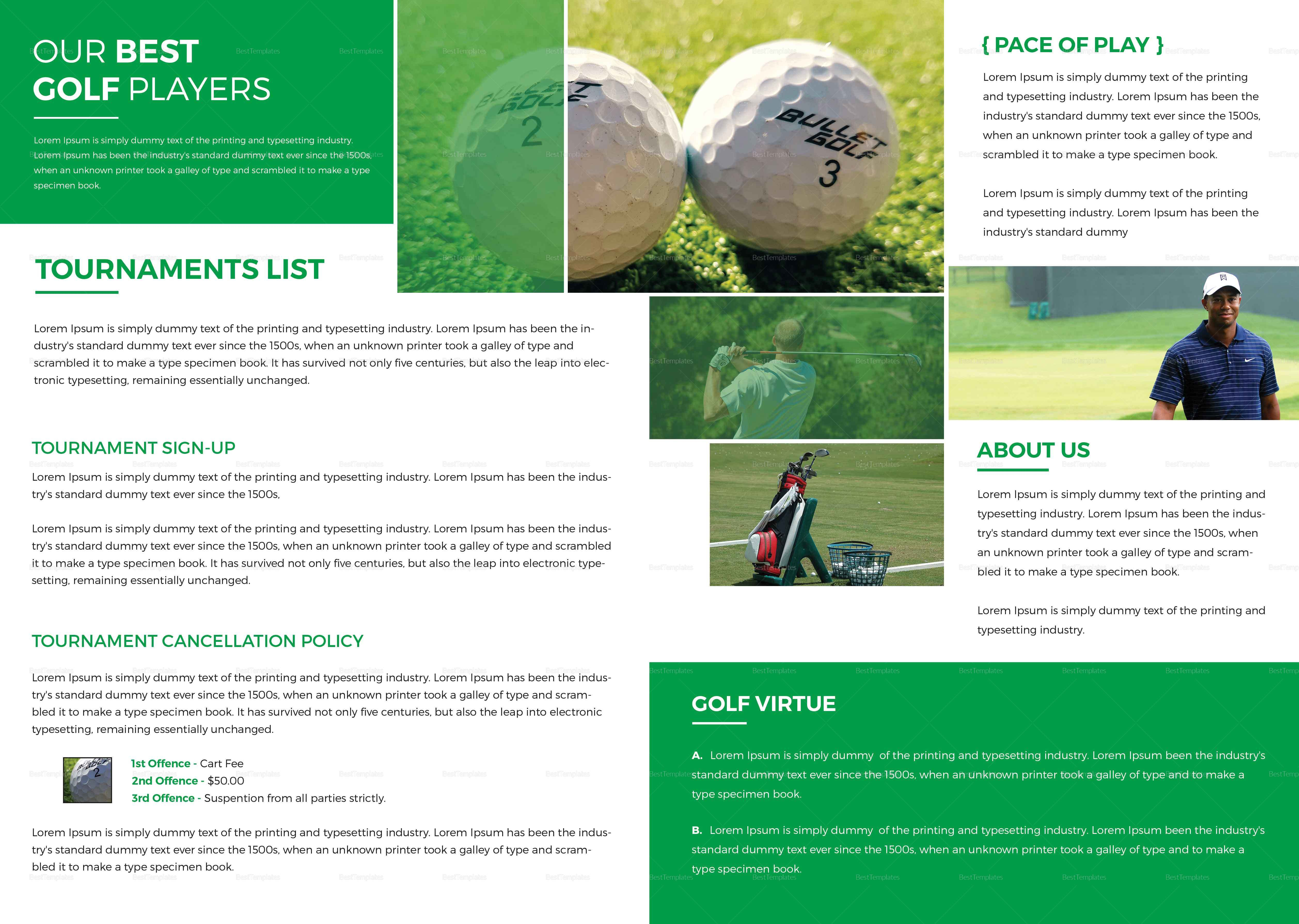Golf tournament bi fold brochure design template in word for Golf tournament brochure template