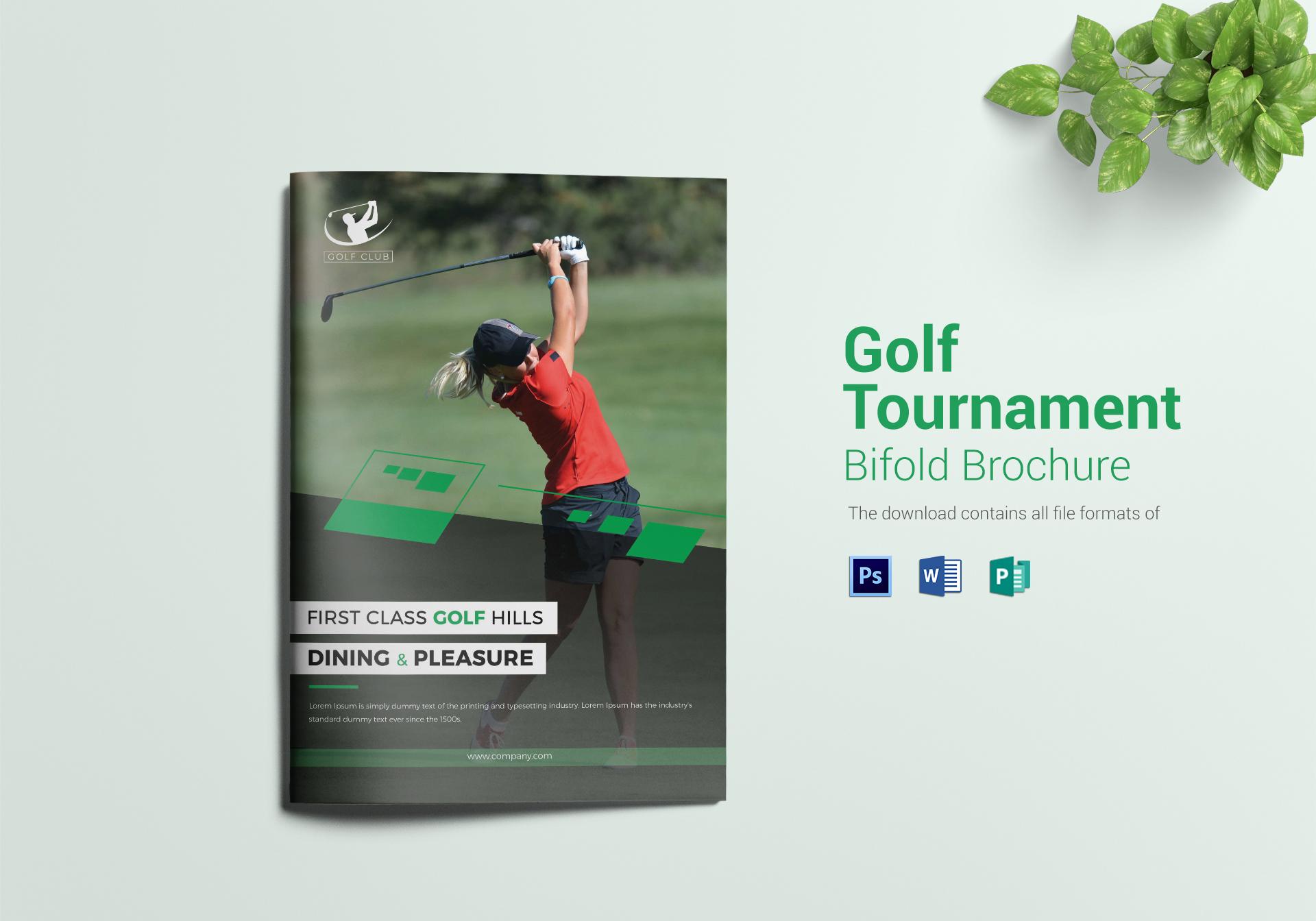 Golf Tournament Brochure | Golf Tournament Bi Fold Brochure Design Template In Word Psd Publisher