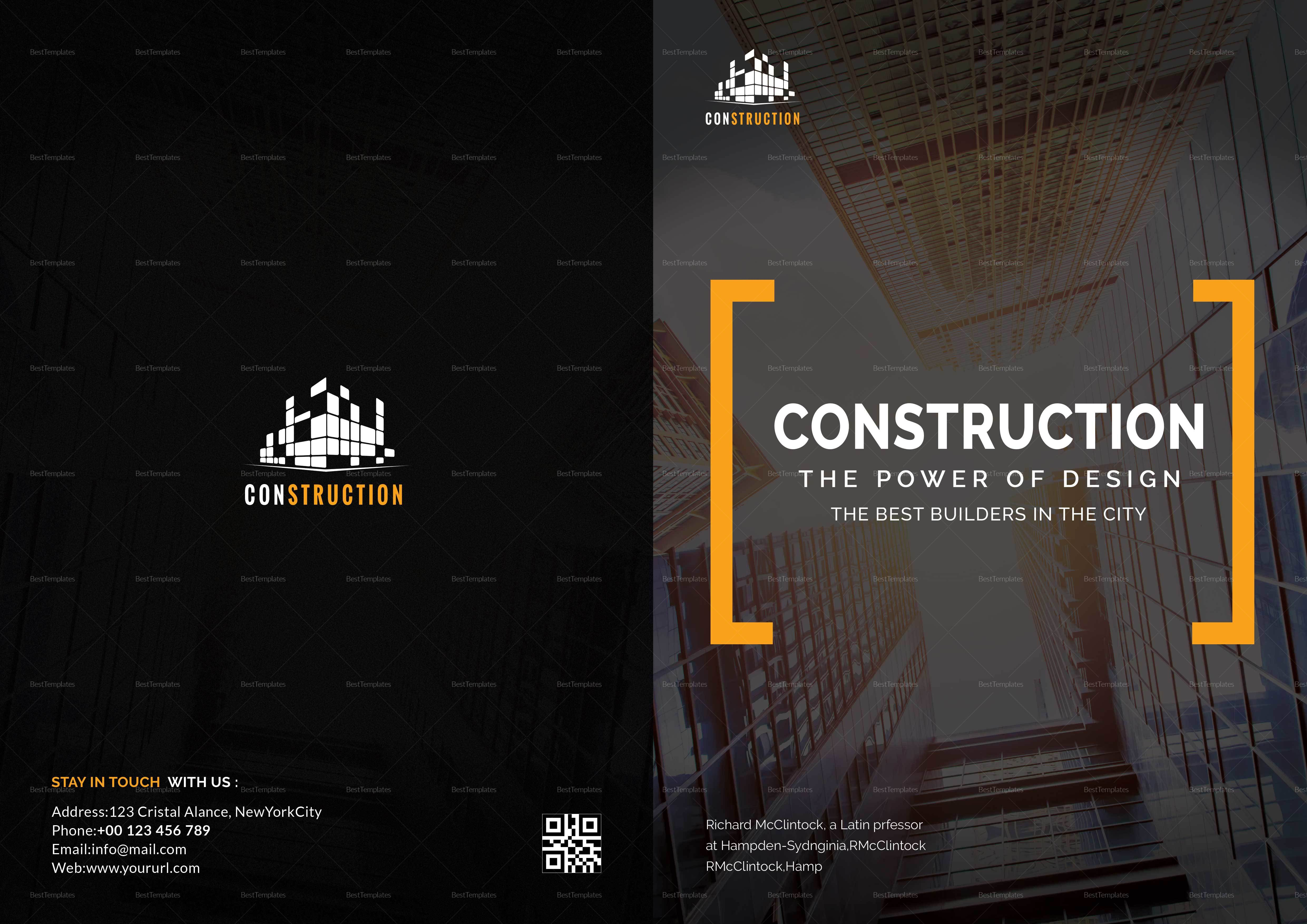 construction company brochure design template in word  psd