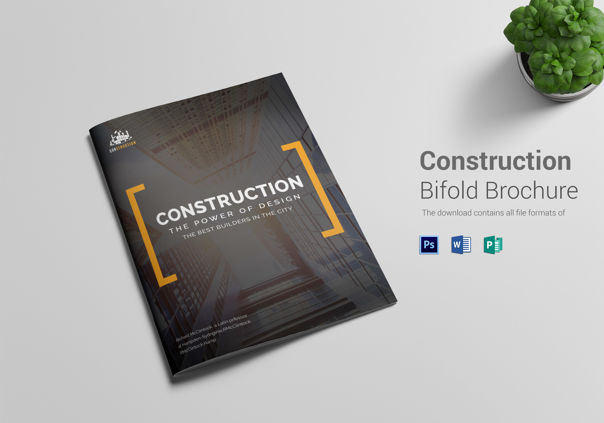 construction company brochure design template in word psd publisher