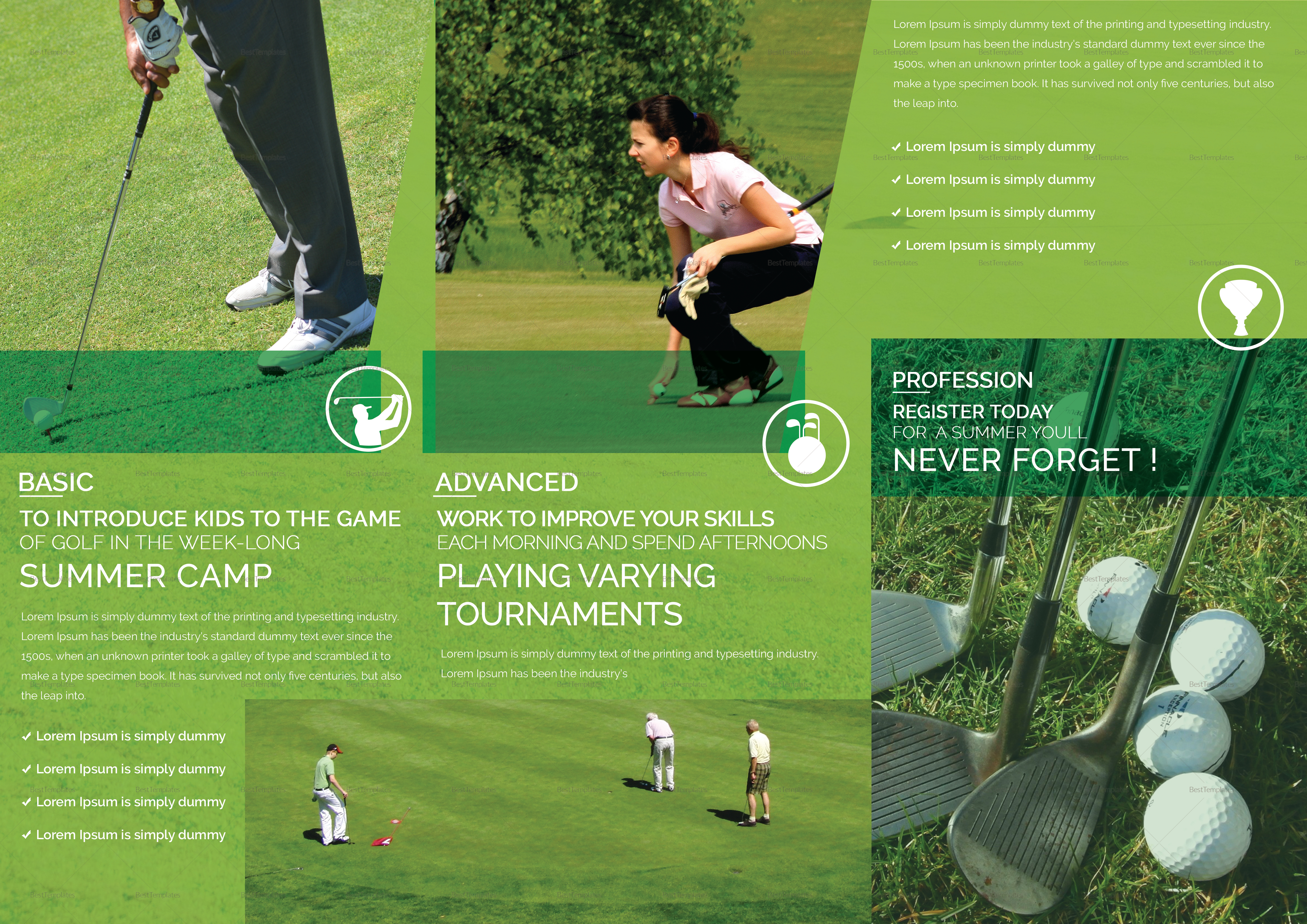 Golf Tournament Tri Fold Brochure Design Template