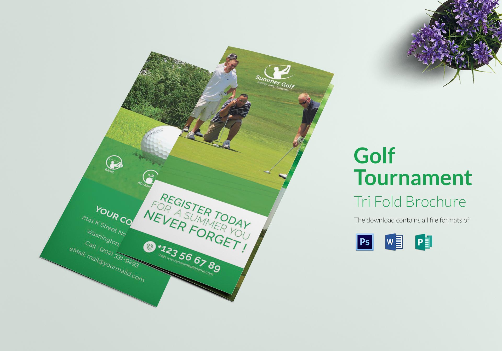 Golf Tournament Tri Fold Brochure Design Template In Word Psd