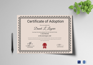 picture about Free Printable Adoption Certificate called Adoption Certification Options Templates inside of Phrase, PSD