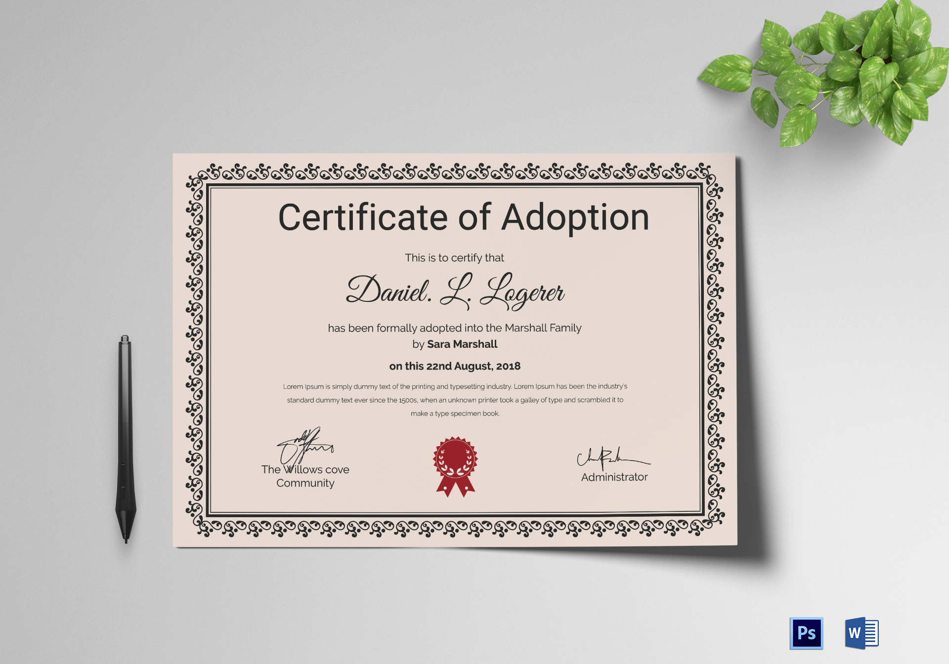 Happy adoption certificate design template in psd word happy adoption certificate template yadclub Gallery