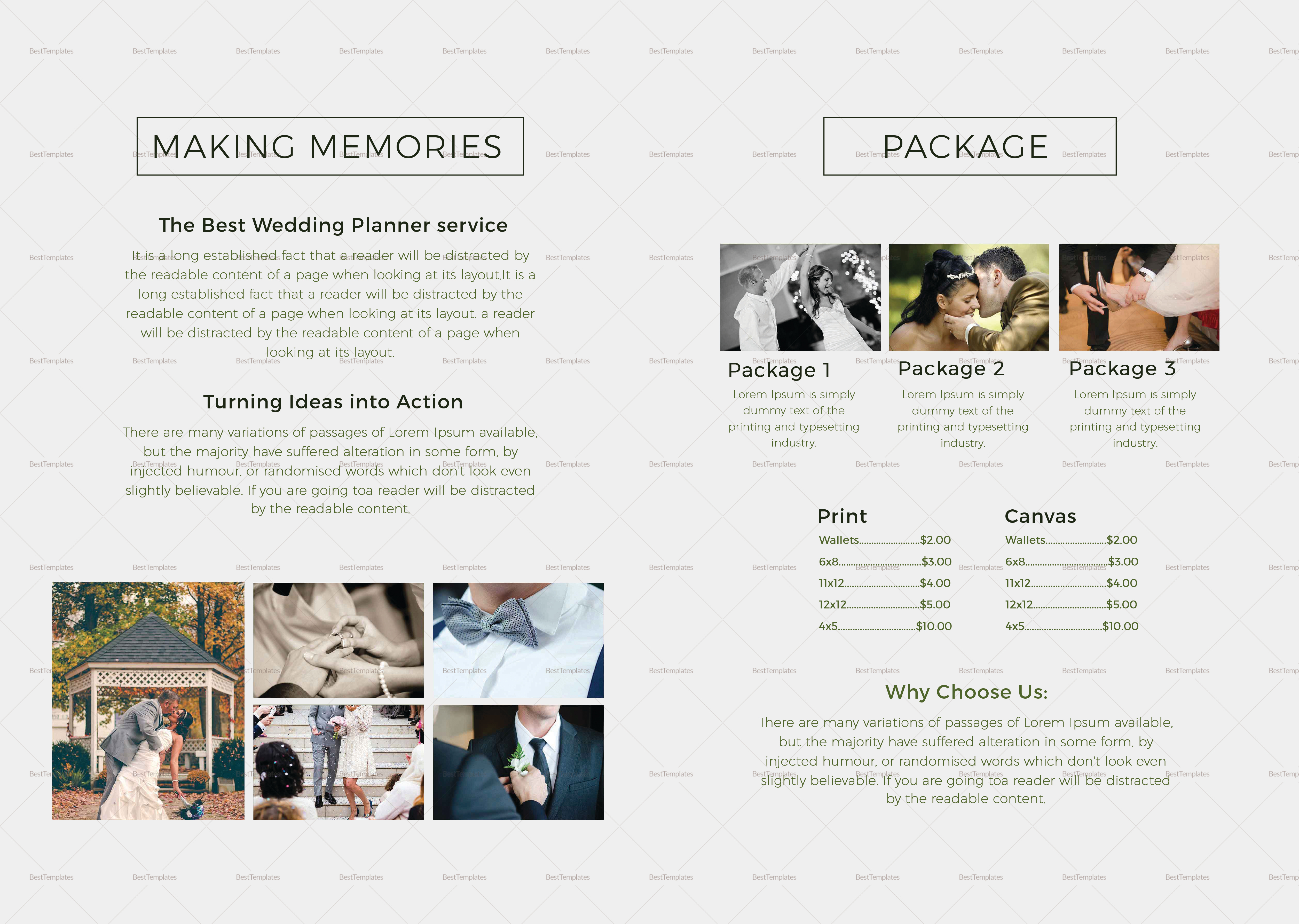 Bi Fold Wedding Photography Brochure Design Template