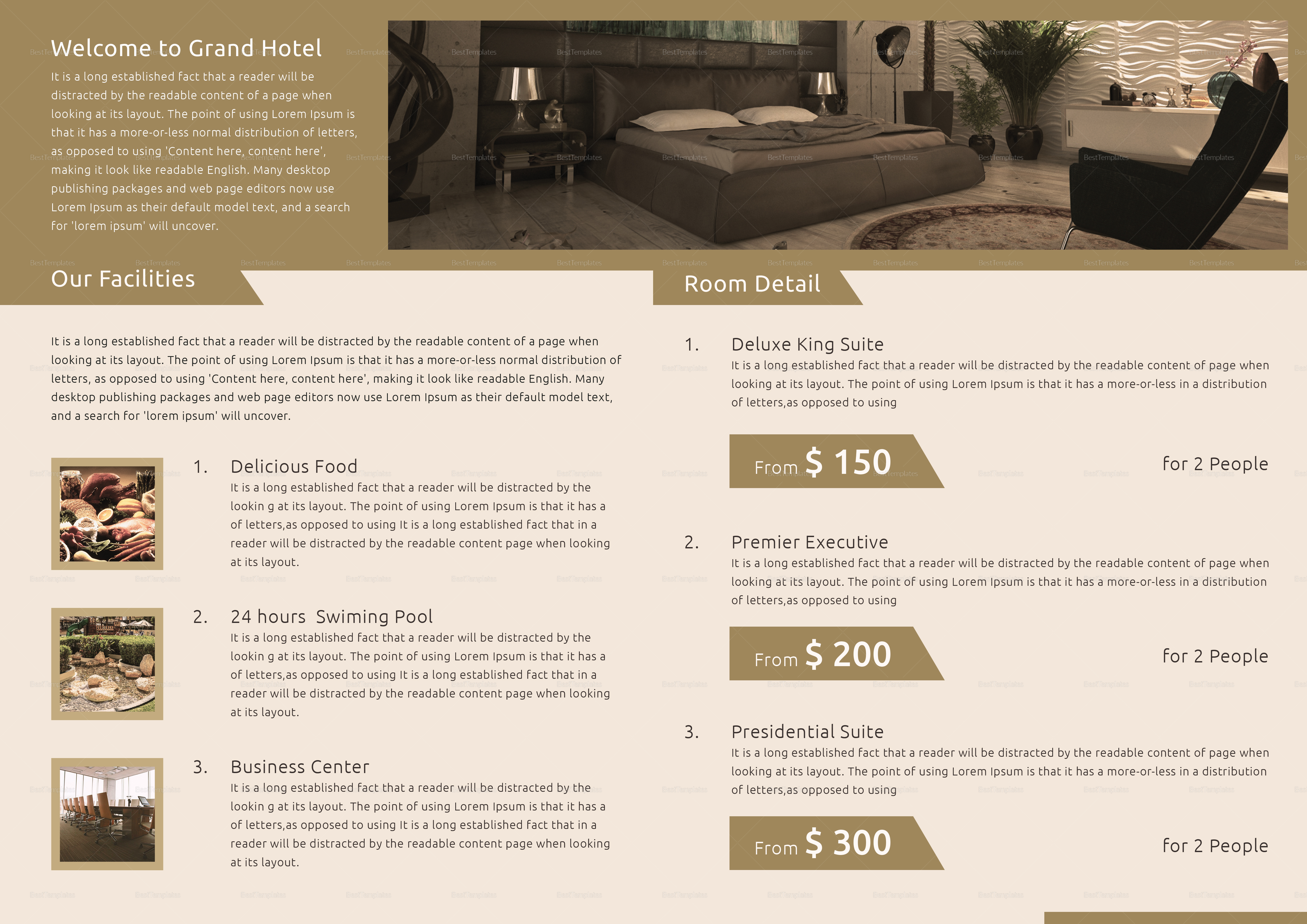 Hotel Bi Fold Brochure Design Template