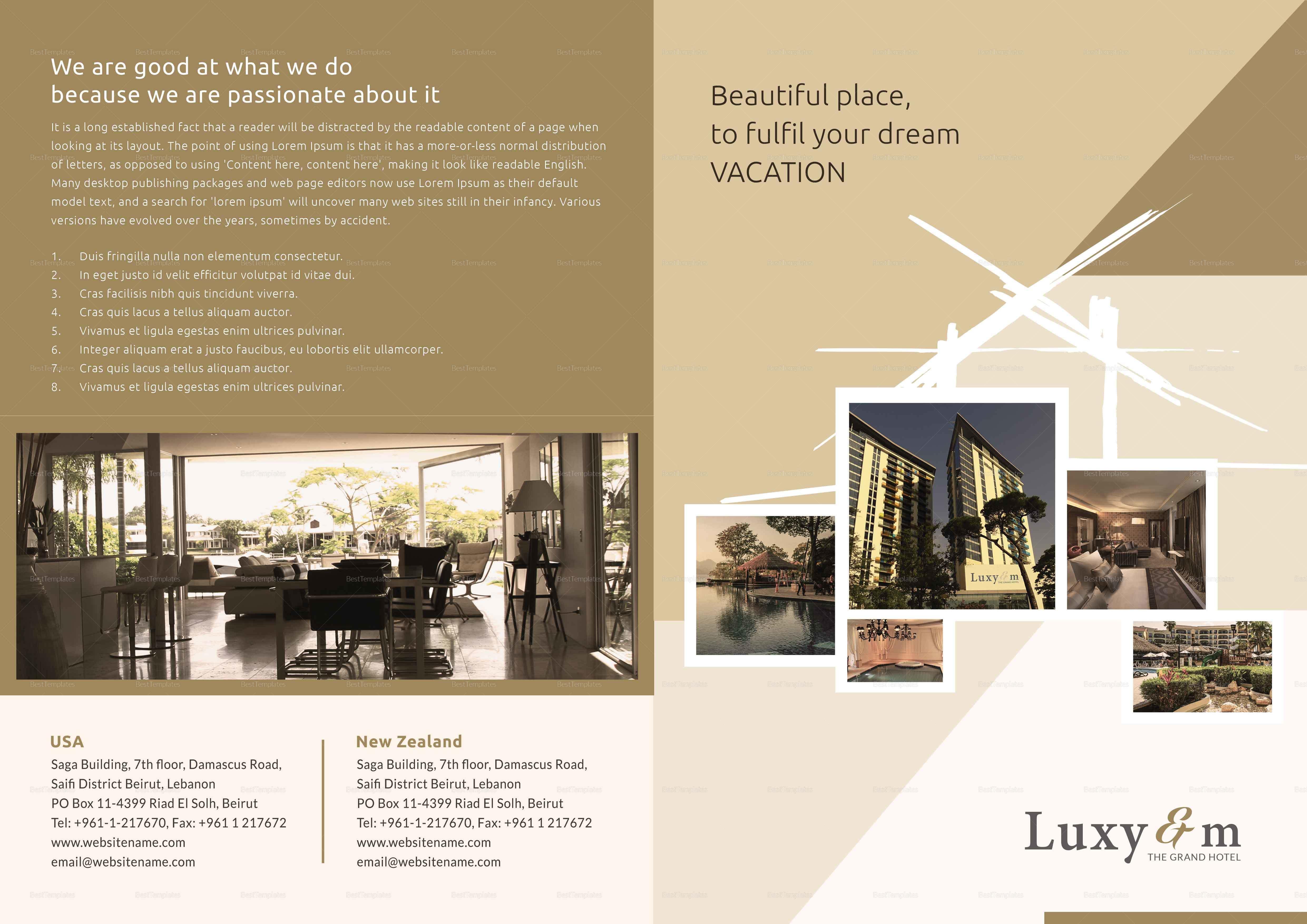 Hotel bi fold brochure design template in word psd publisher hotel bi fold brochure hotel bi fold brochure template saigontimesfo