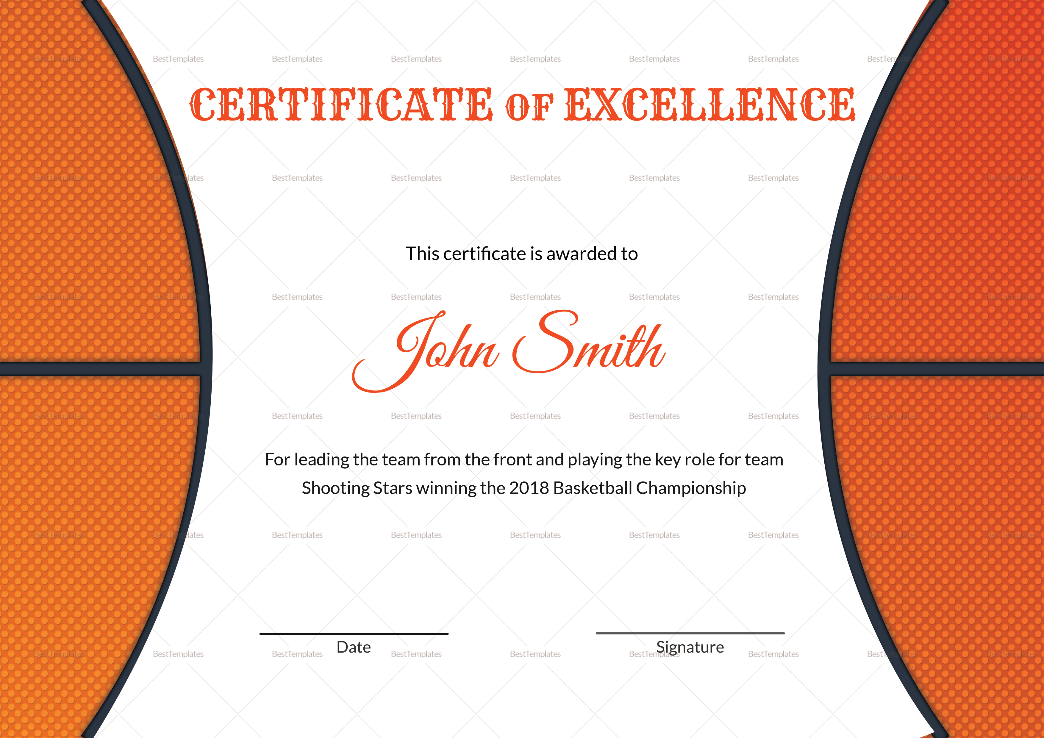 Basketball Excellence Award Certificate Design Template in PSD, Word