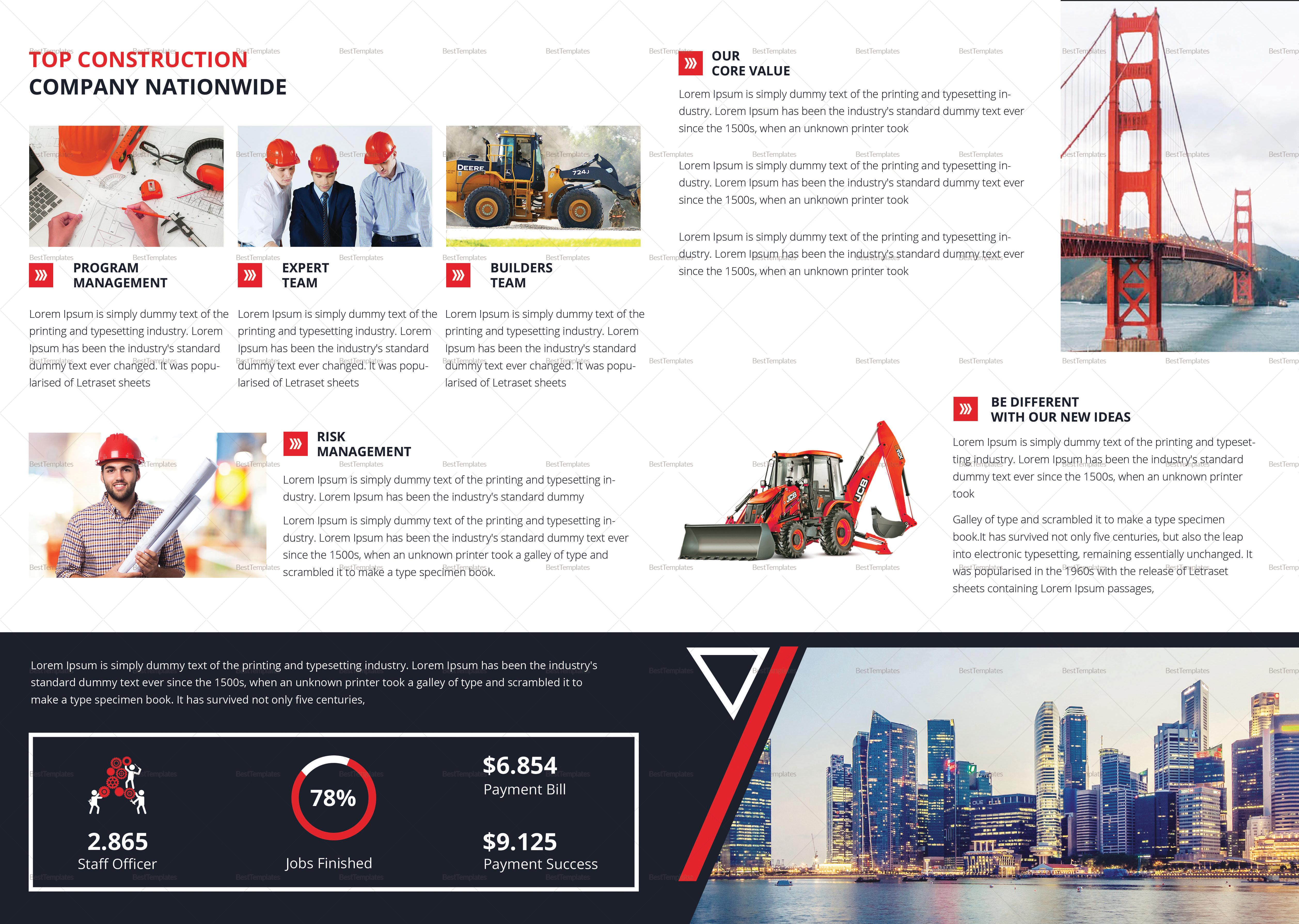 Construction Bi Fold Brochure Template