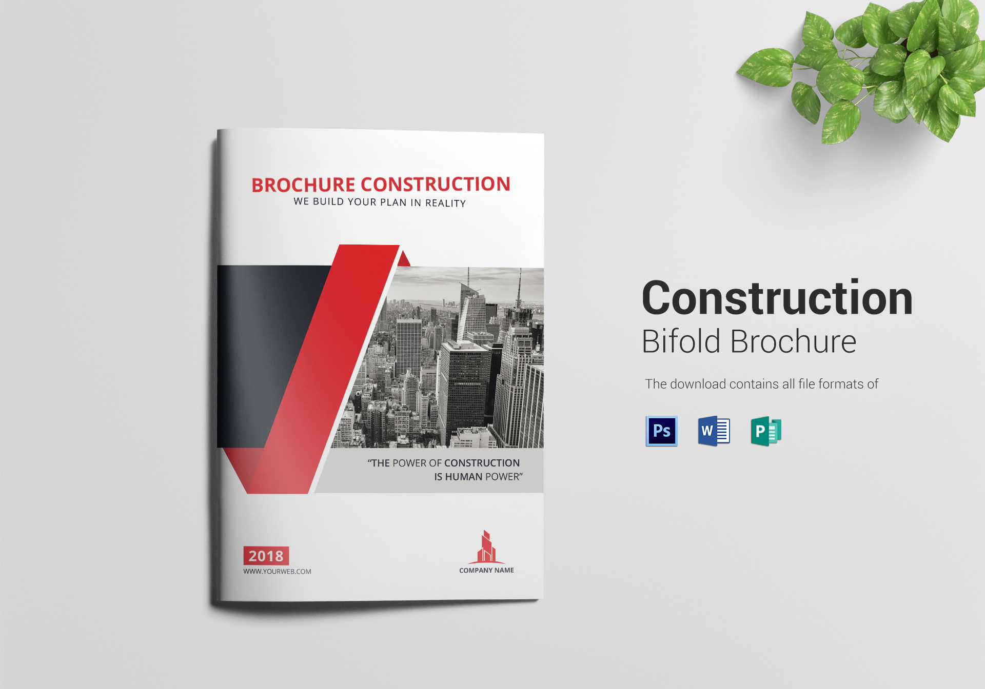 Construction Bi Fold Brochure Design Template In Word PSD Publisher - Bi fold brochure template publisher