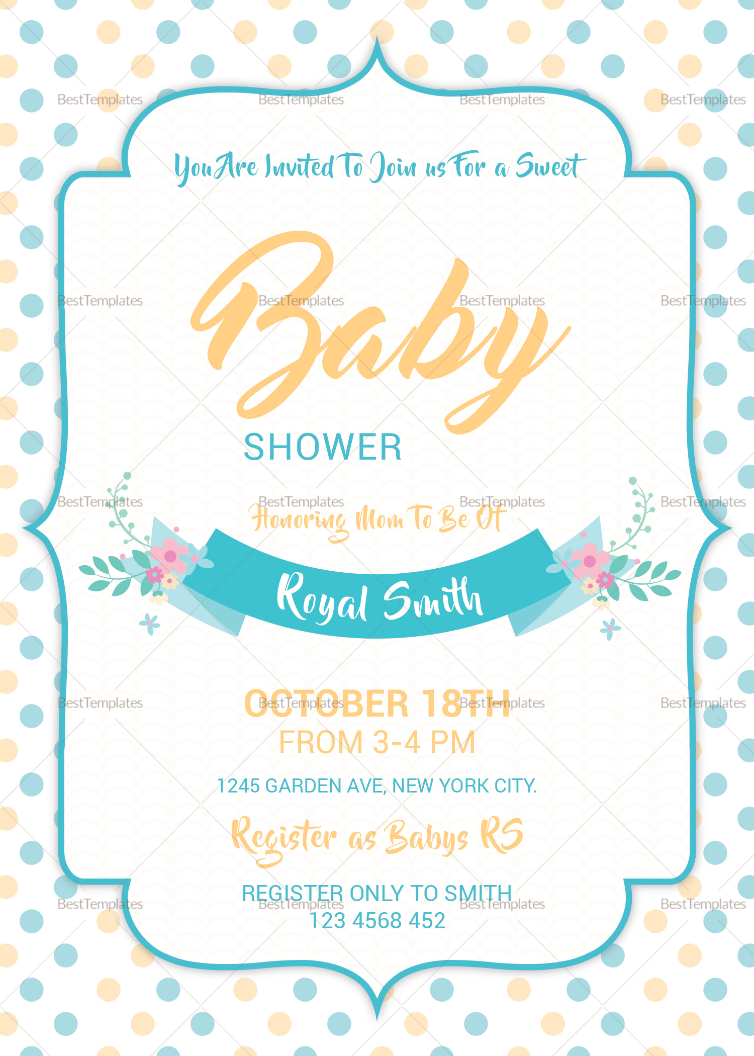 Baby Girl Shower Invitation Design Template