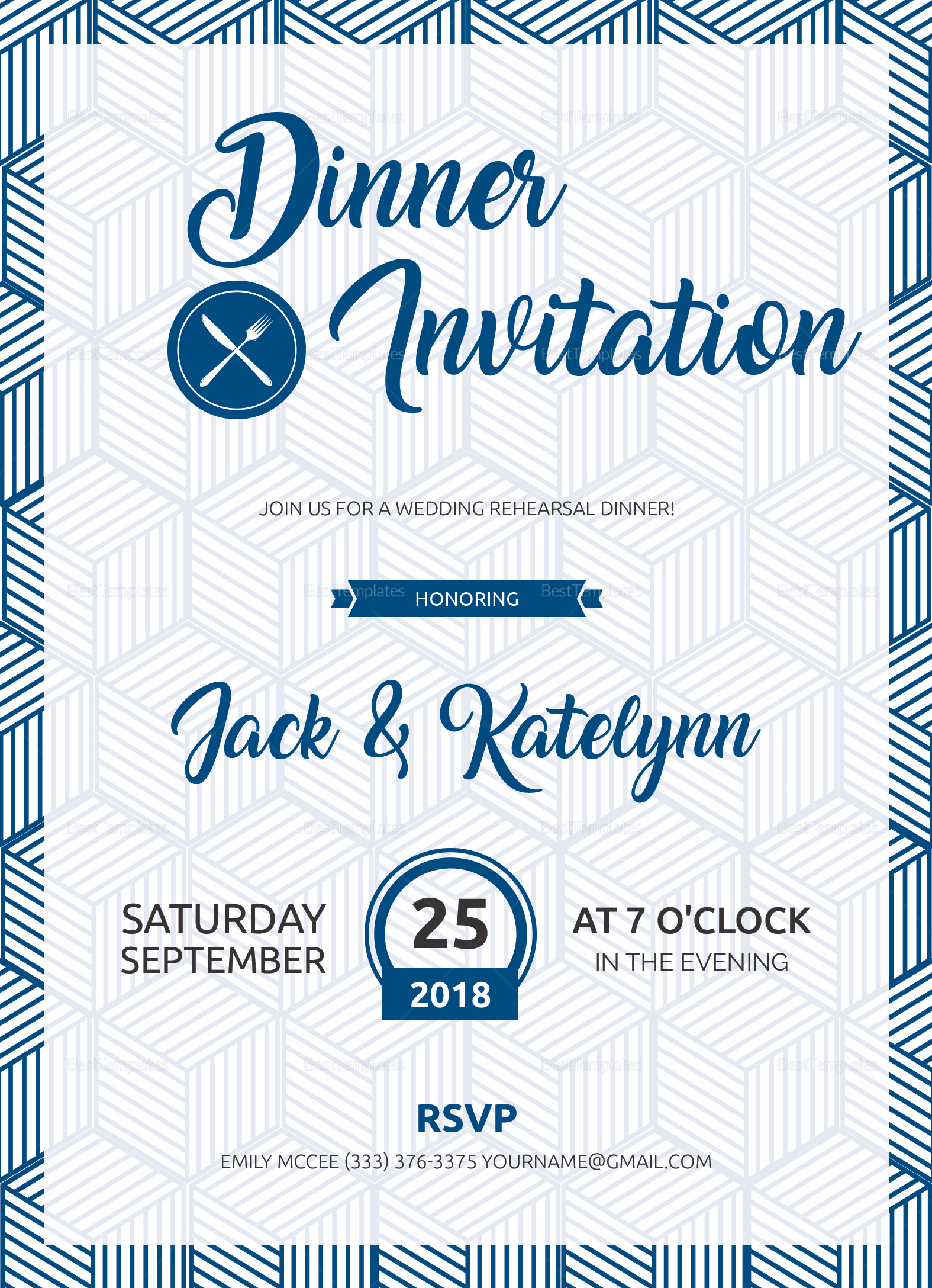 dinner party invitation design template in word  psd