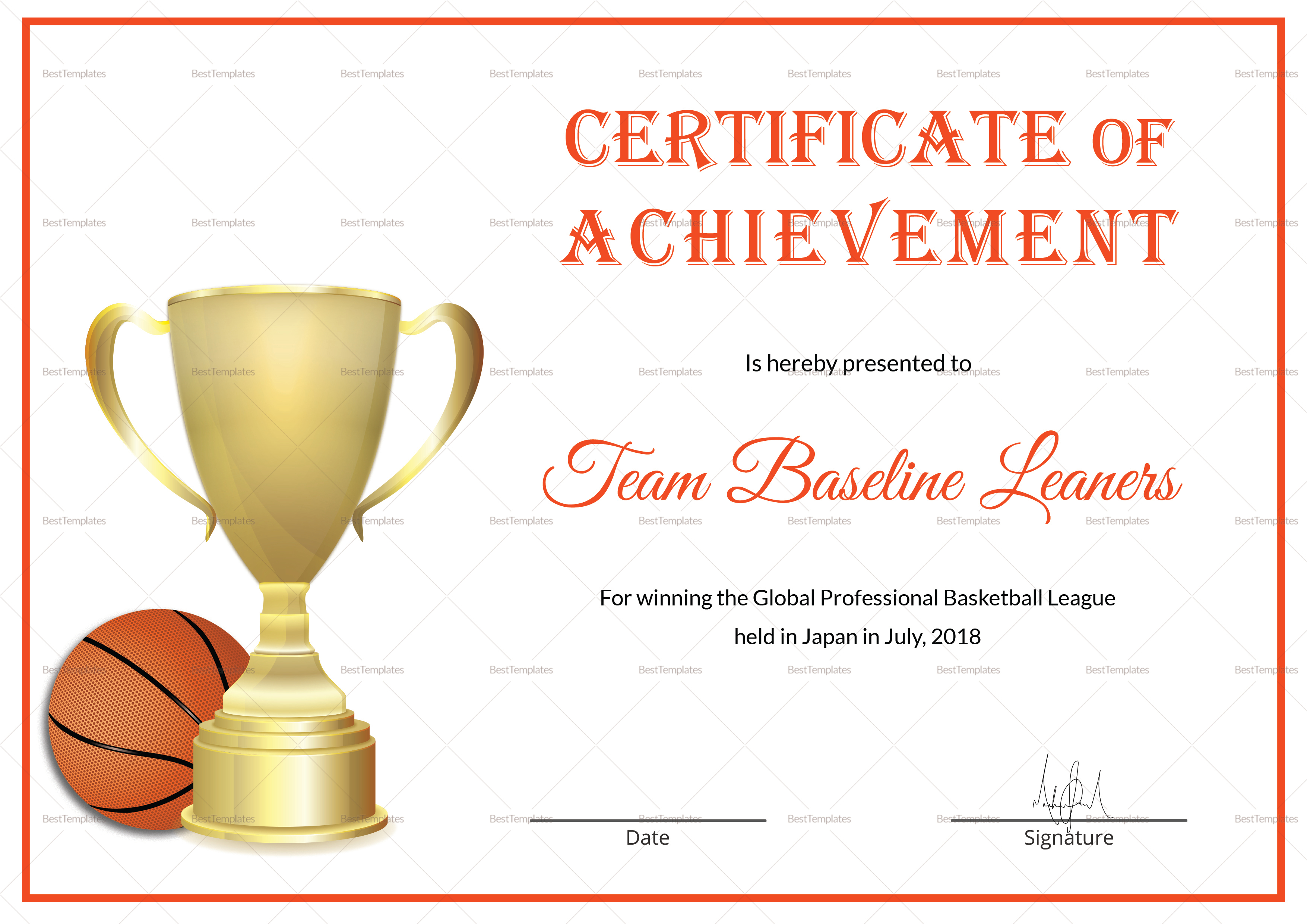 Basketball Achievement Certificate Design Template In Psd Word