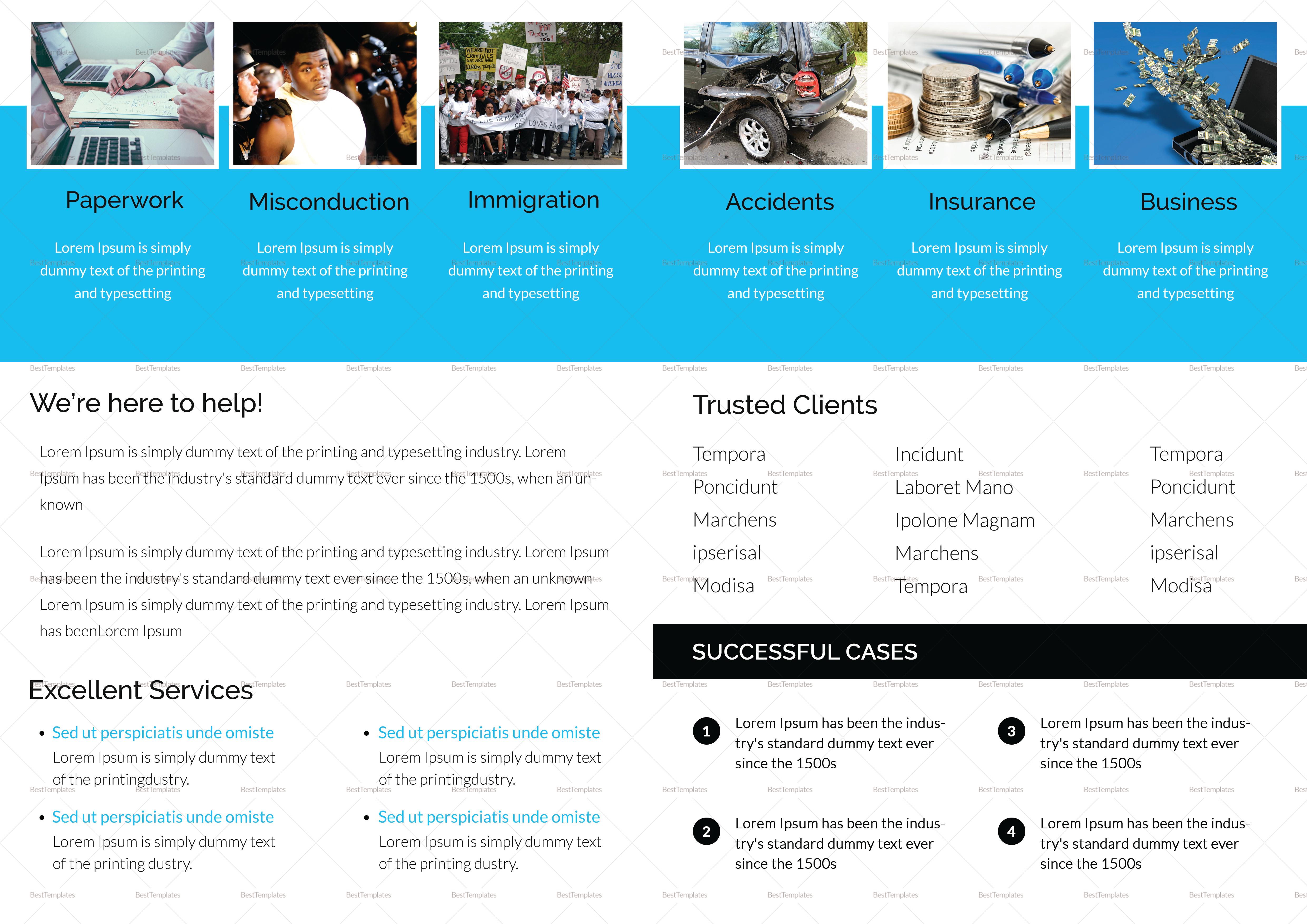 Legal Brochure Bi Fold Design Template