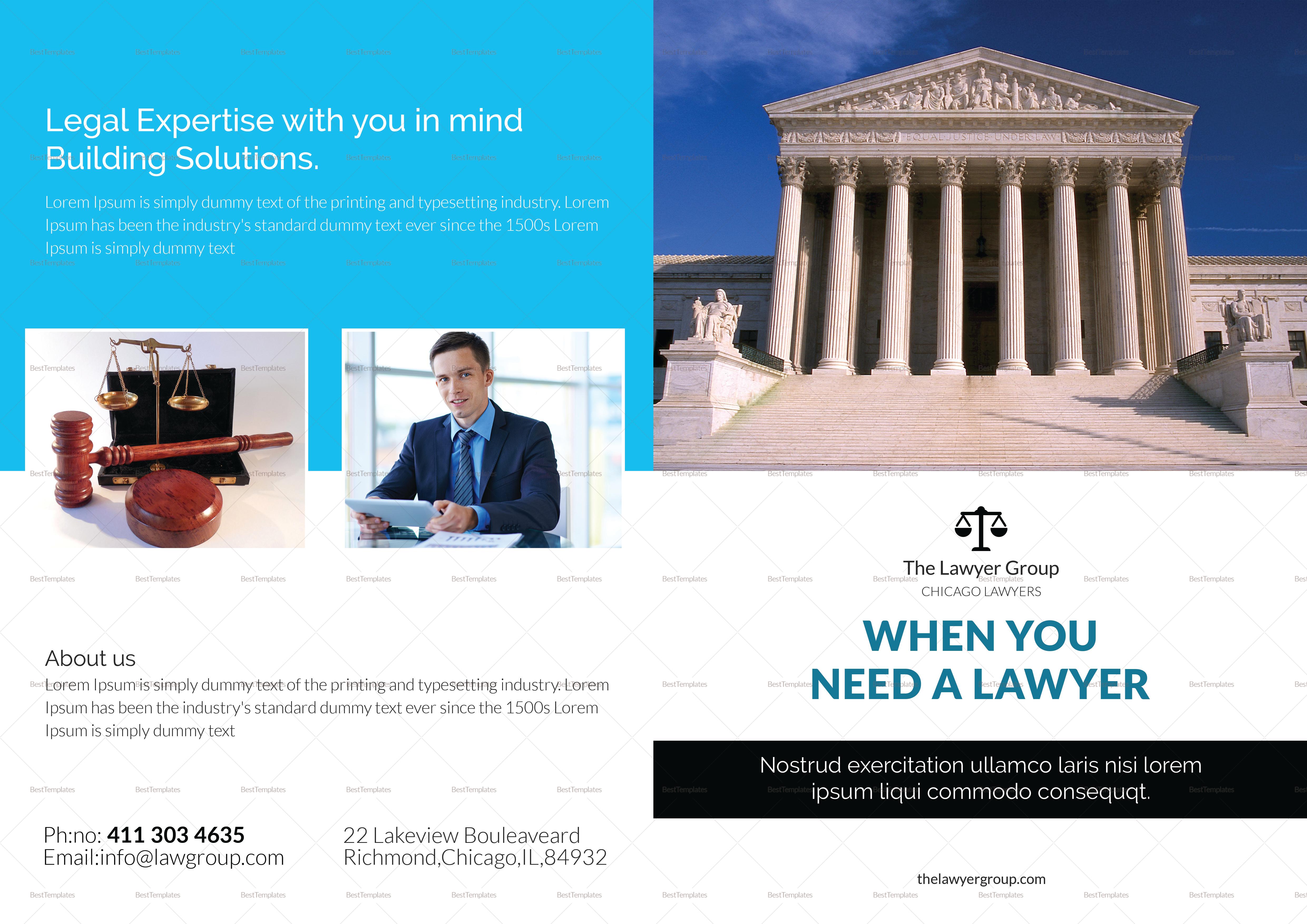 Legal Brochure Bi Fold Template