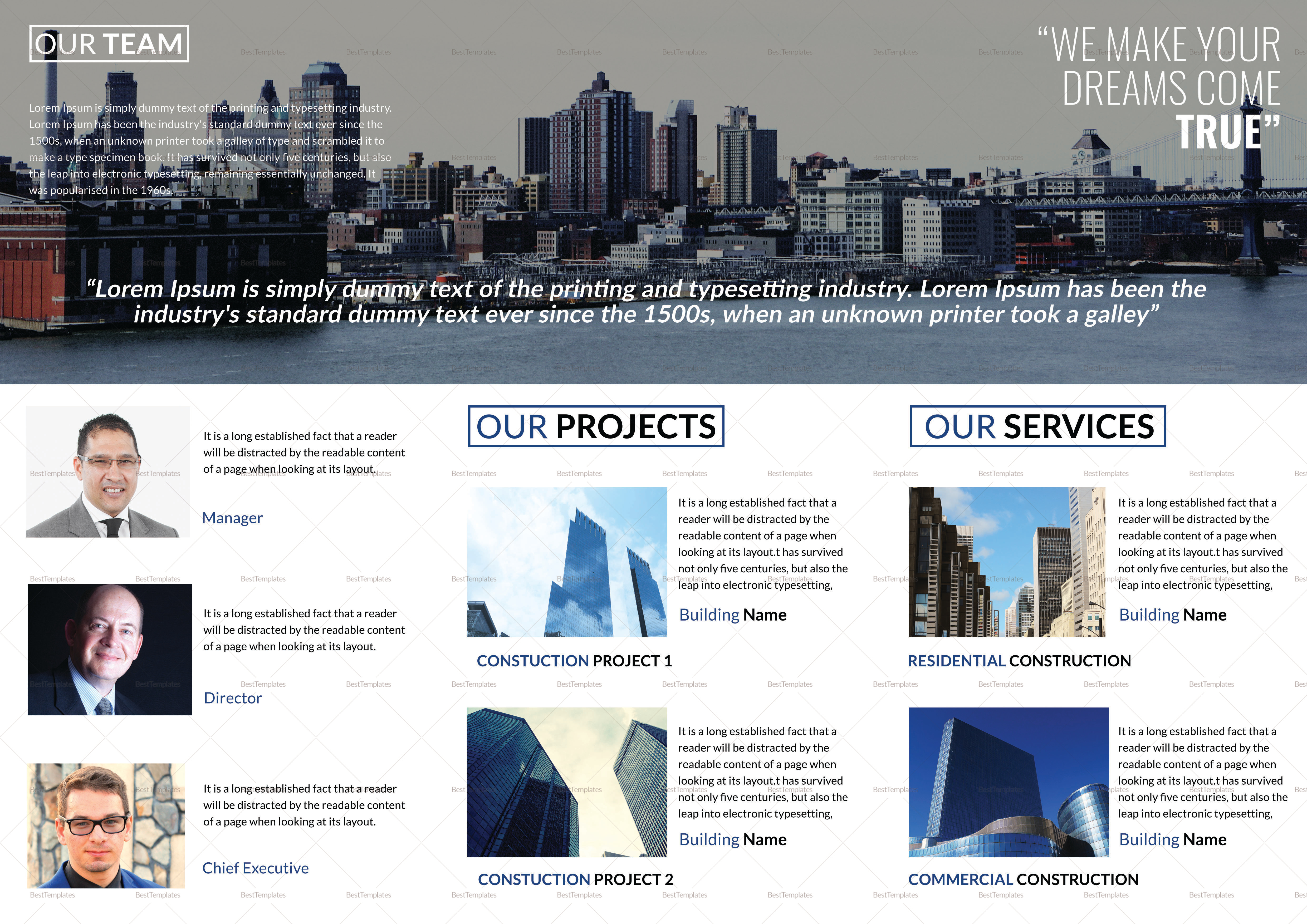 Construction Company Tri Fold Brochure Template 2